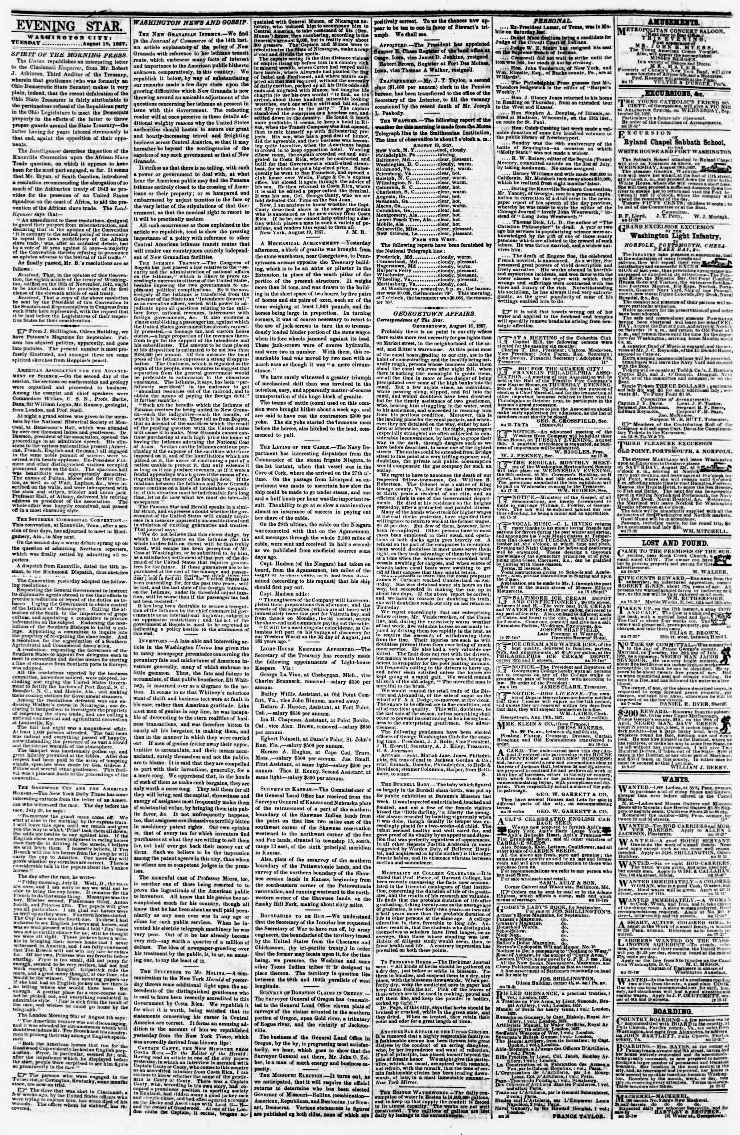 Newspaper of Evening Star dated August 18, 1857 Page 2