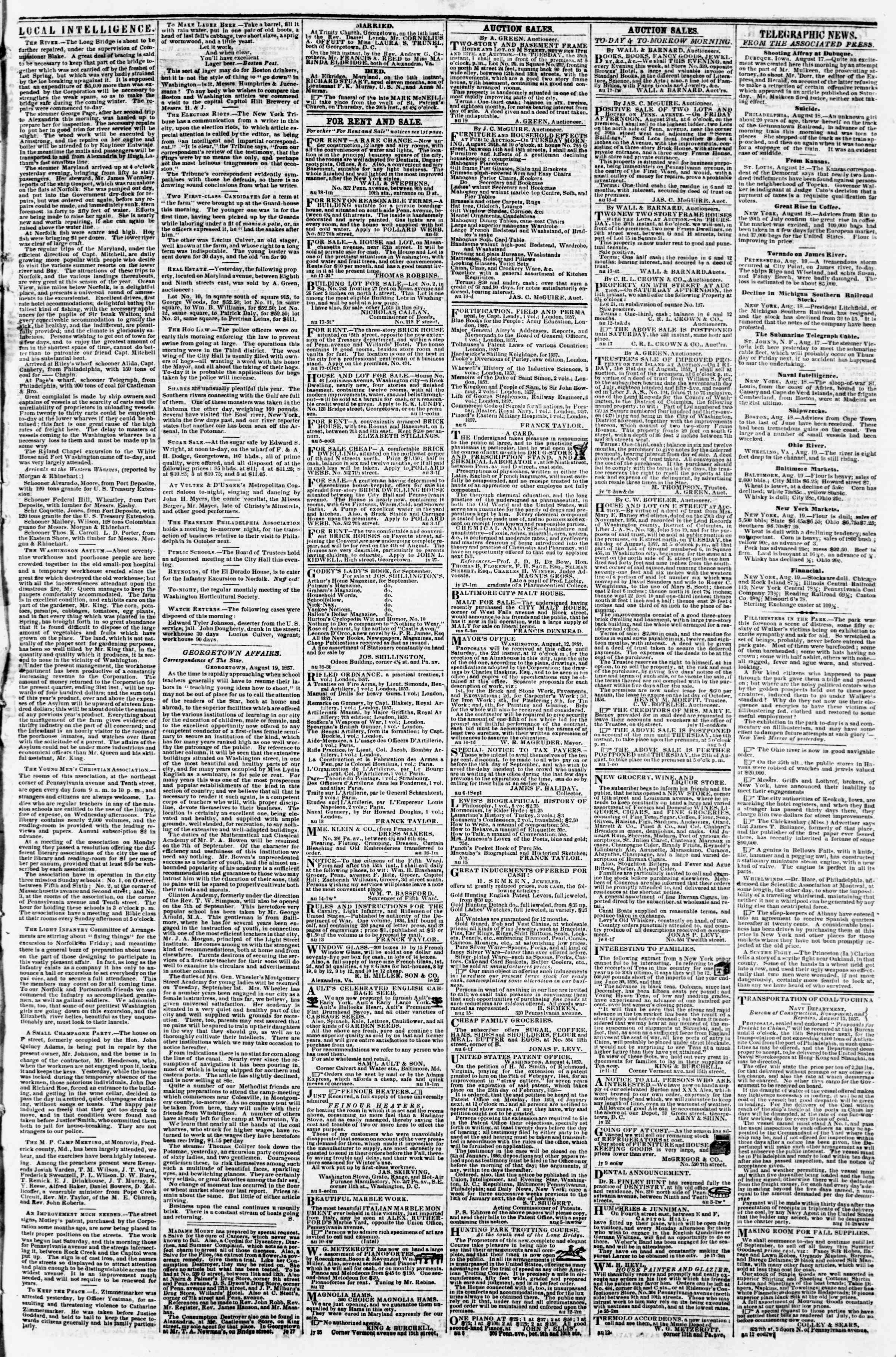 Newspaper of Evening Star dated August 19, 1857 Page 3