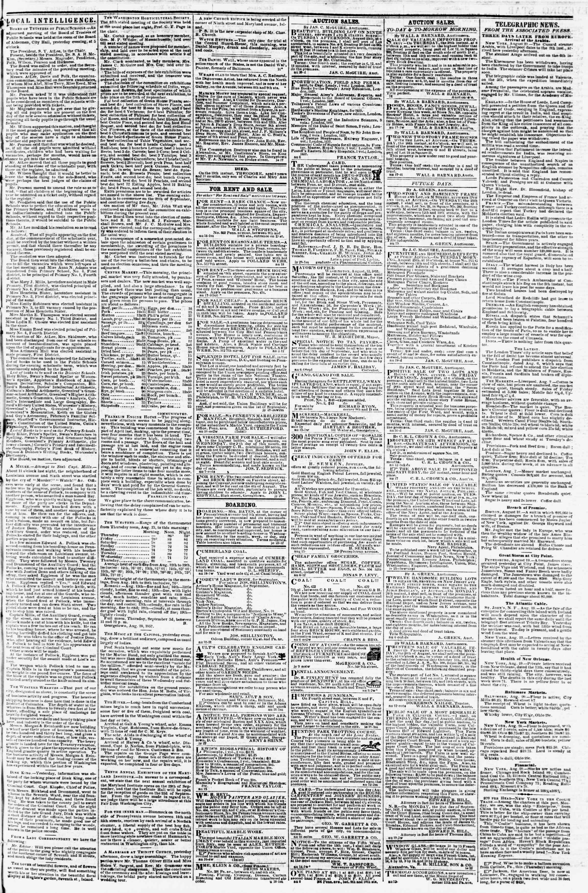 Newspaper of Evening Star dated August 20, 1857 Page 3