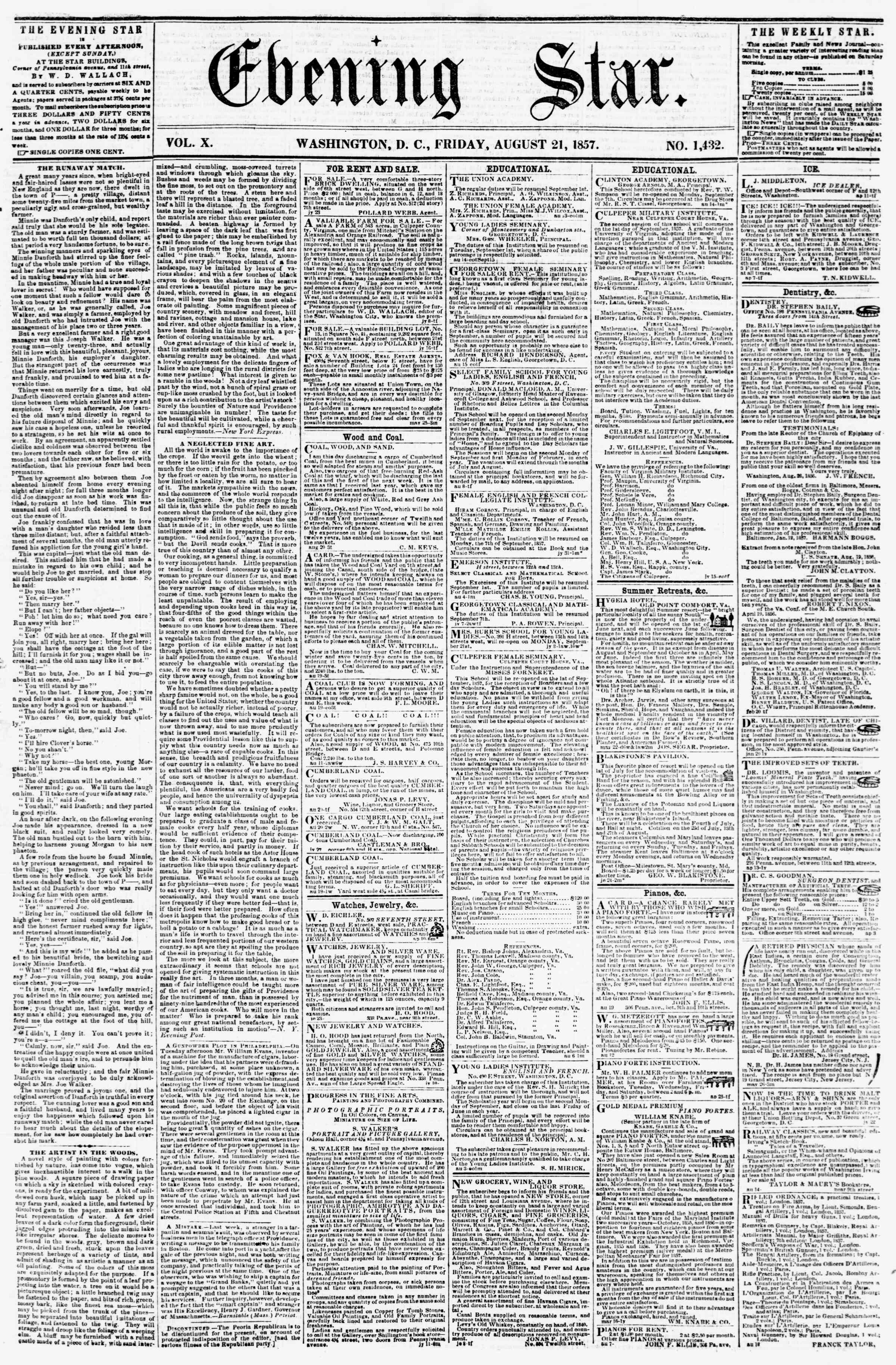 21 Ağustos 1857 tarihli Evening Star Gazetesi Sayfa 1