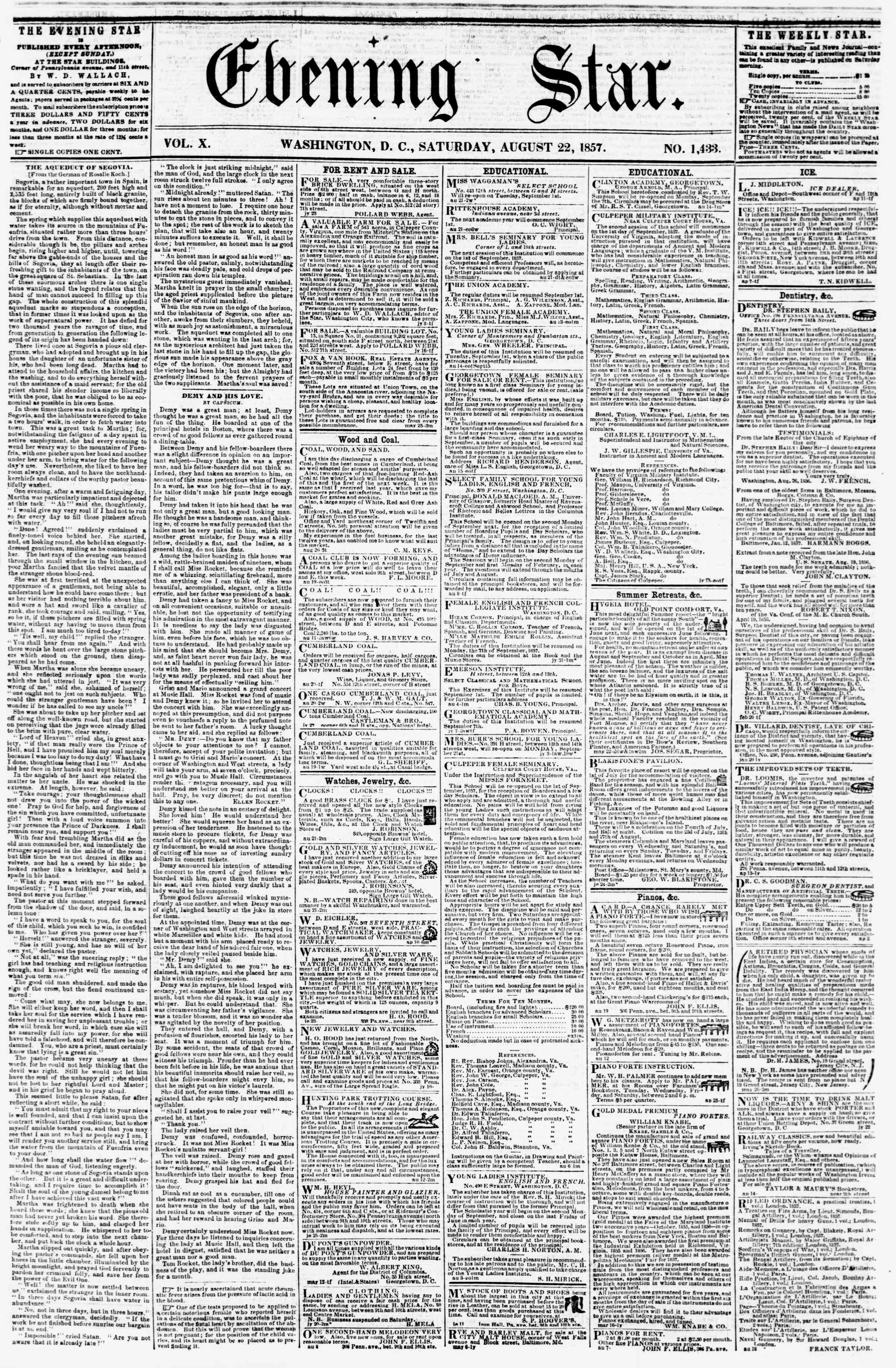 Newspaper of Evening Star dated August 22, 1857 Page 1