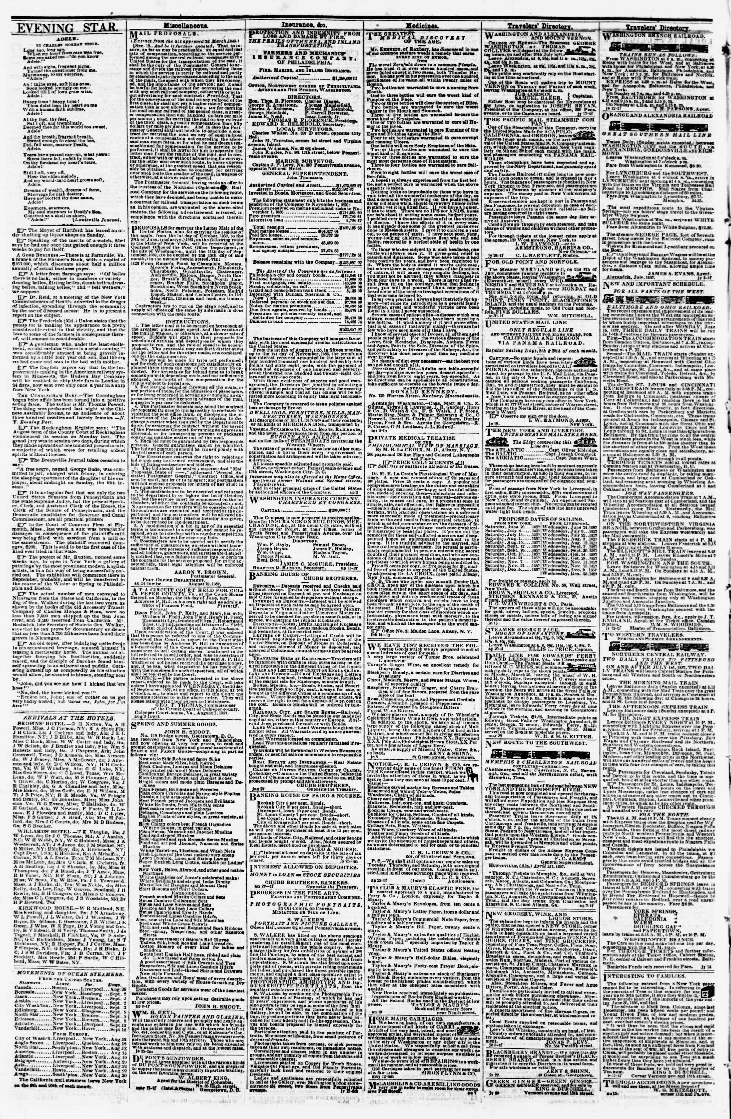 Newspaper of Evening Star dated August 24, 1857 Page 4