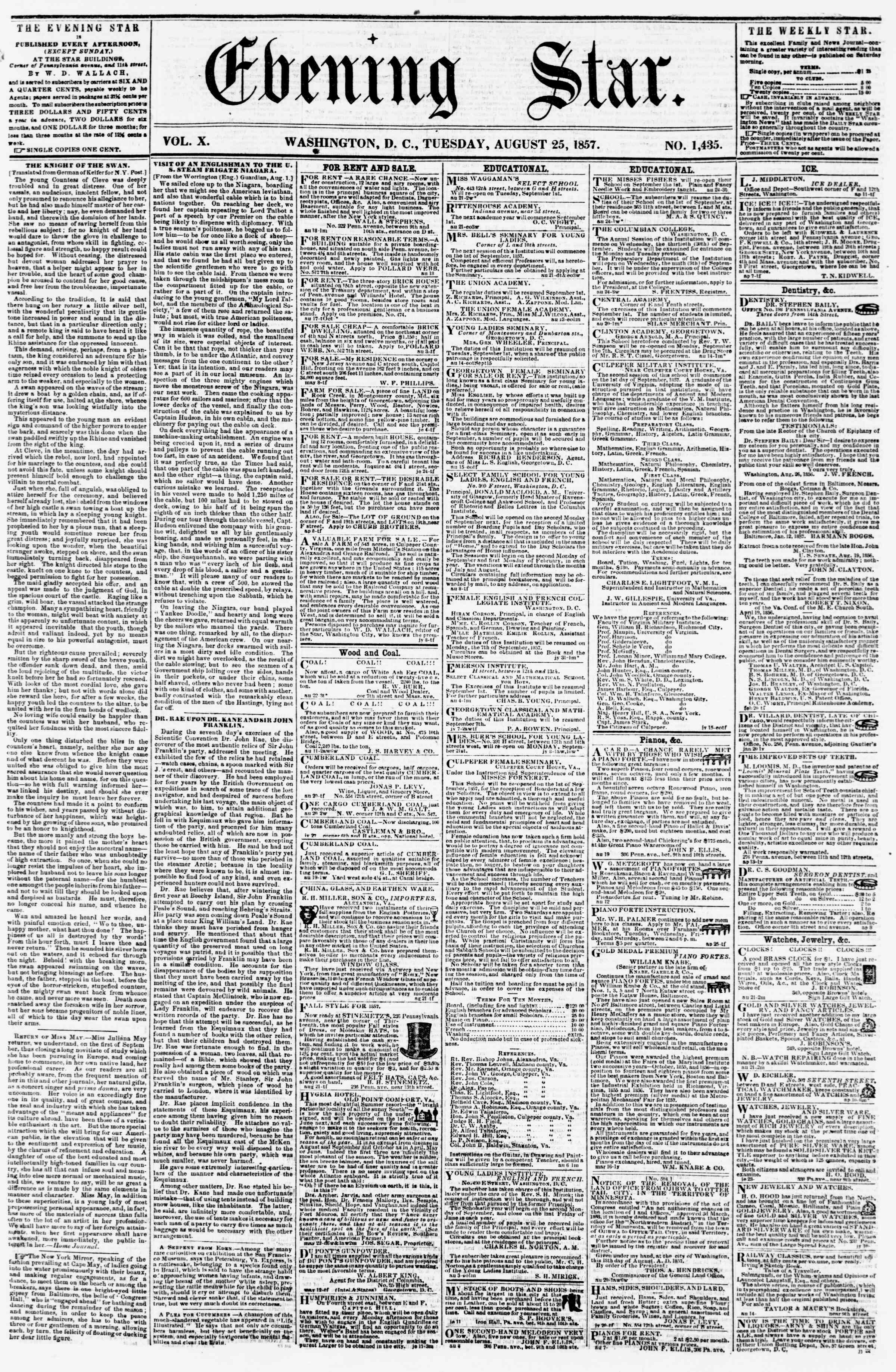 Newspaper of Evening Star dated August 25, 1857 Page 1