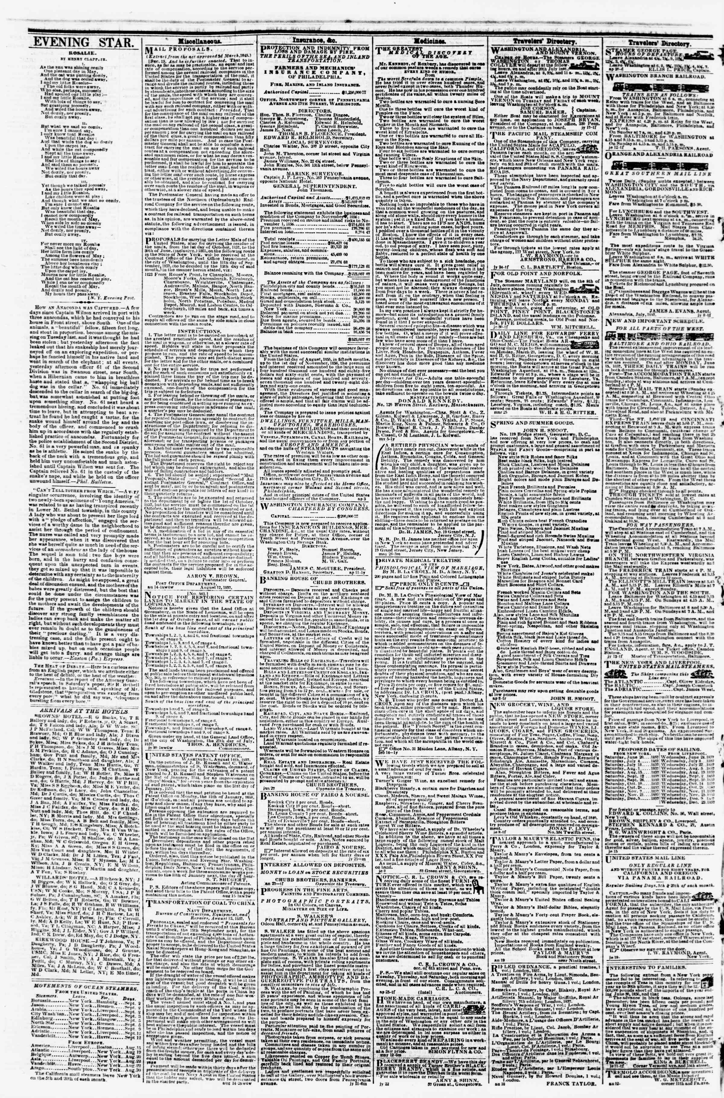 Newspaper of Evening Star dated August 26, 1857 Page 4