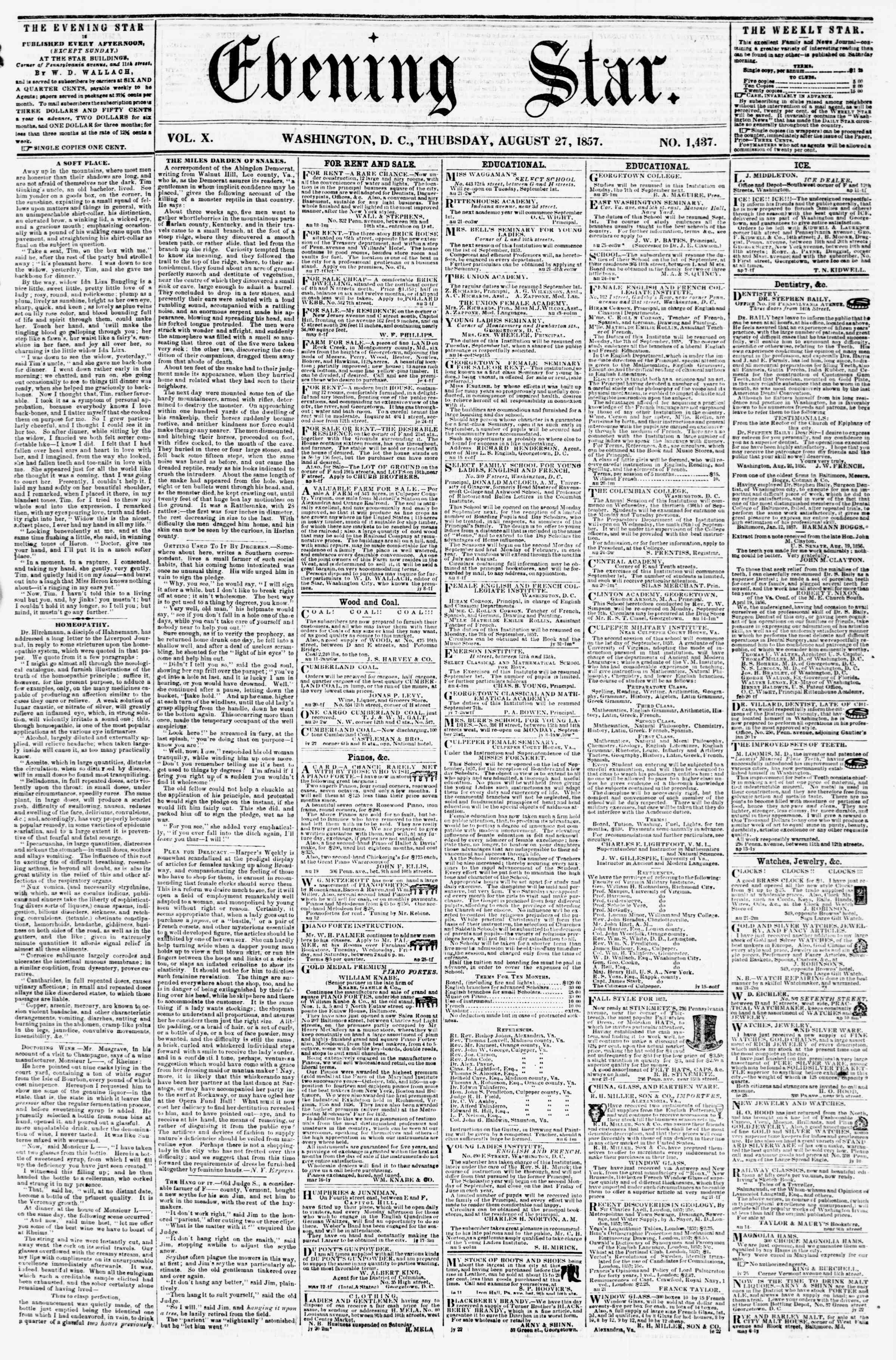 Newspaper of Evening Star dated August 27, 1857 Page 1
