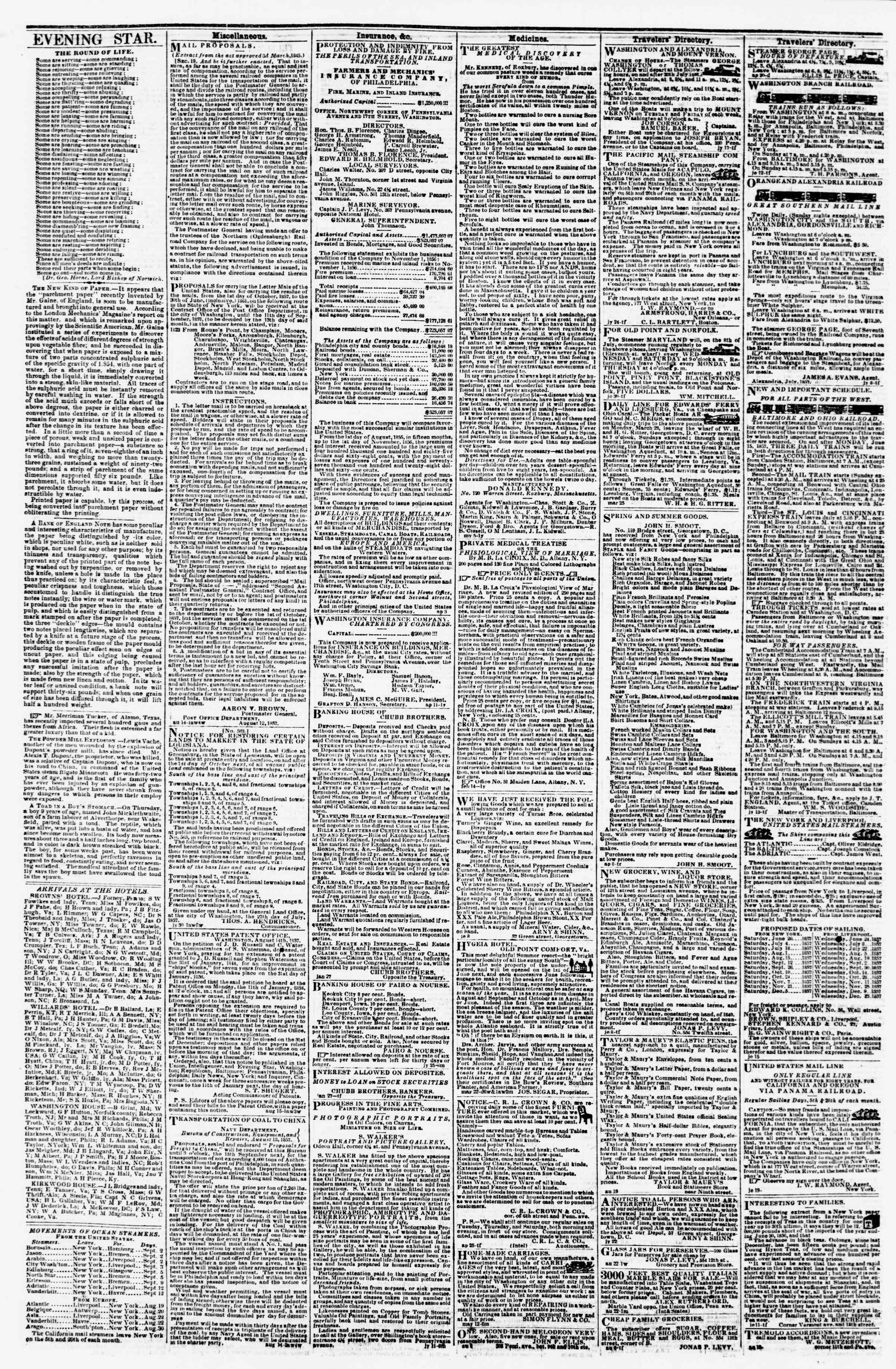 Newspaper of Evening Star dated 27 Ağustos 1857 Page 4