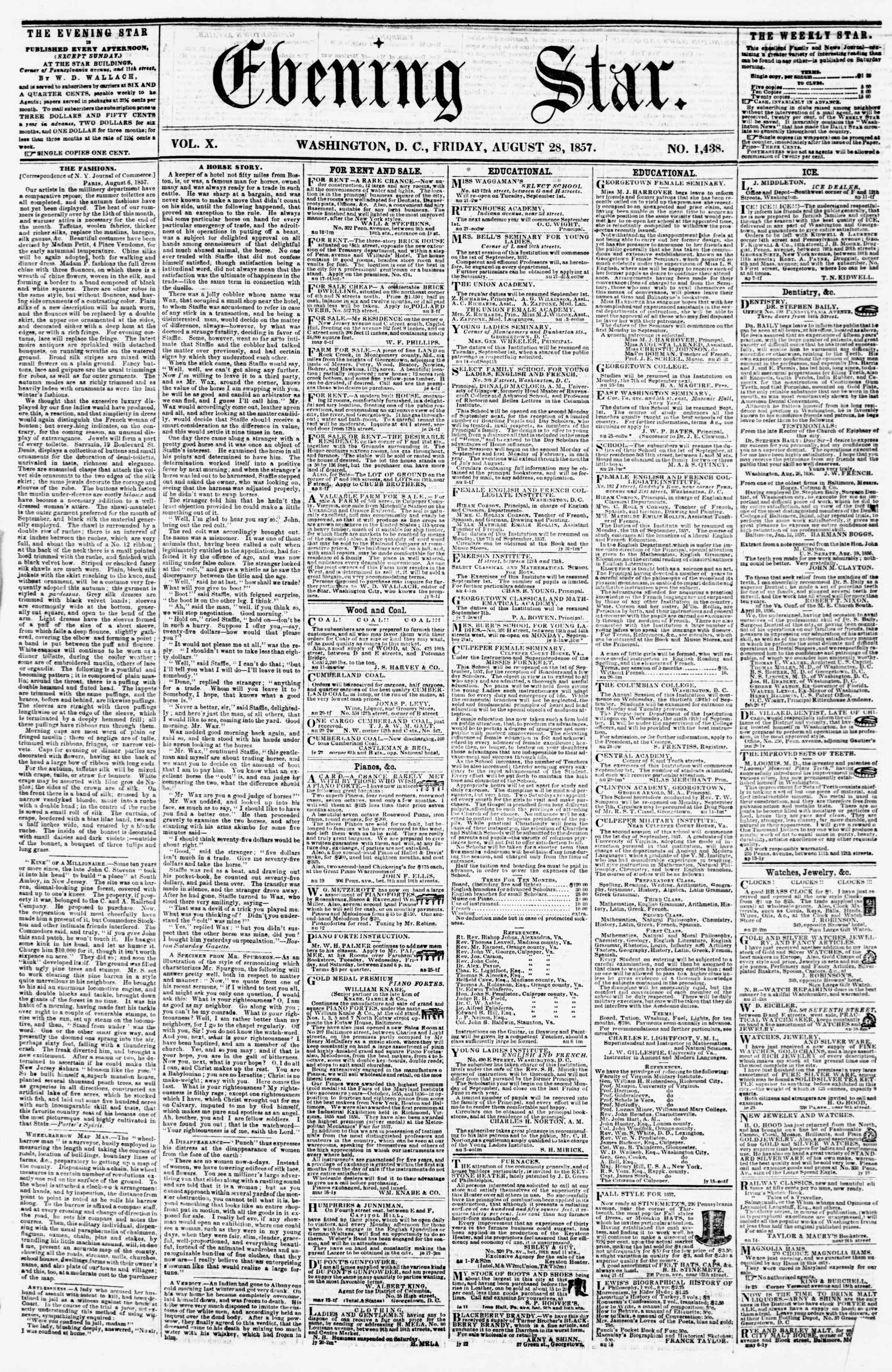 Newspaper of Evening Star dated August 28, 1857 Page 1
