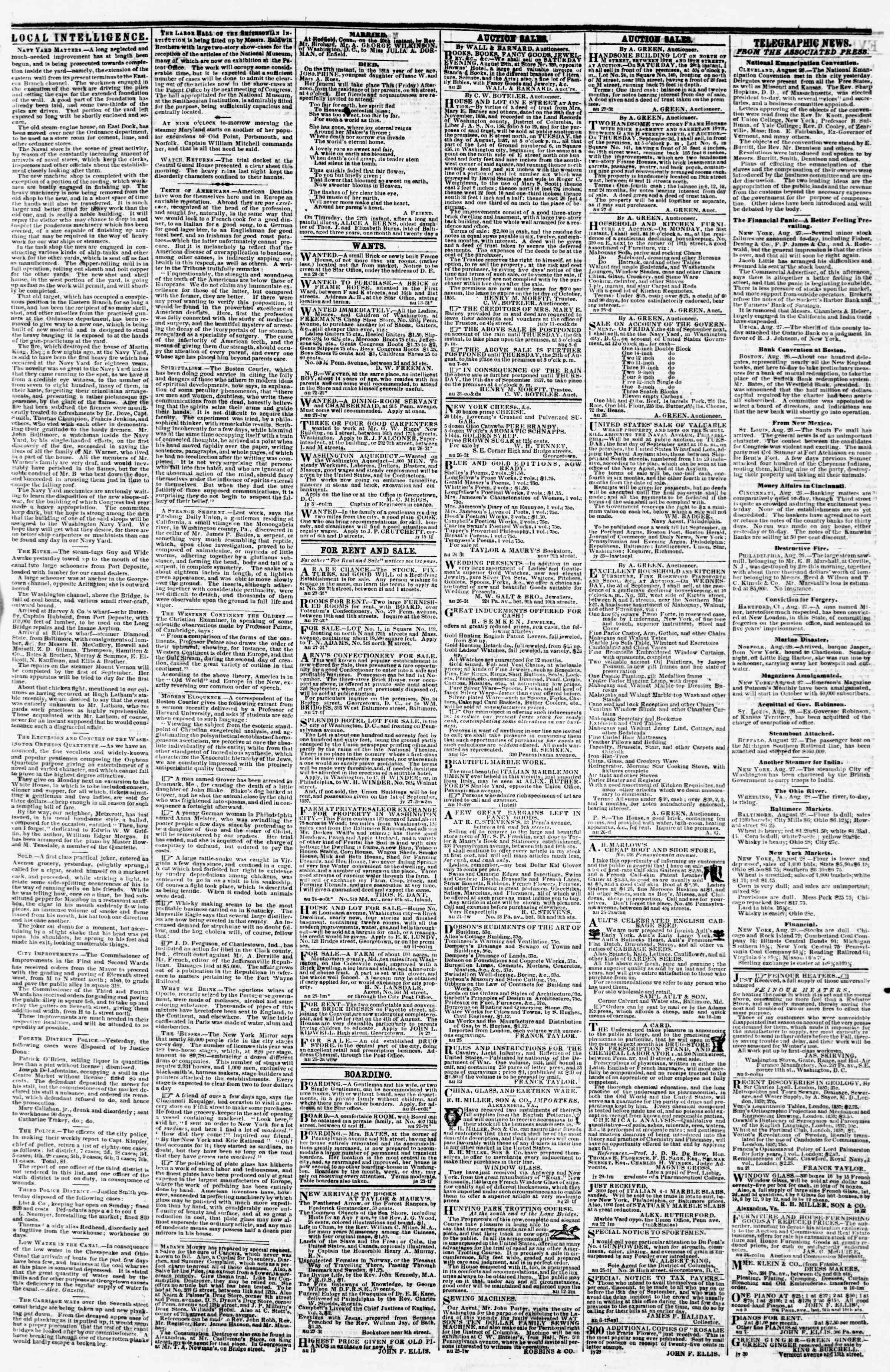 Newspaper of Evening Star dated August 28, 1857 Page 3
