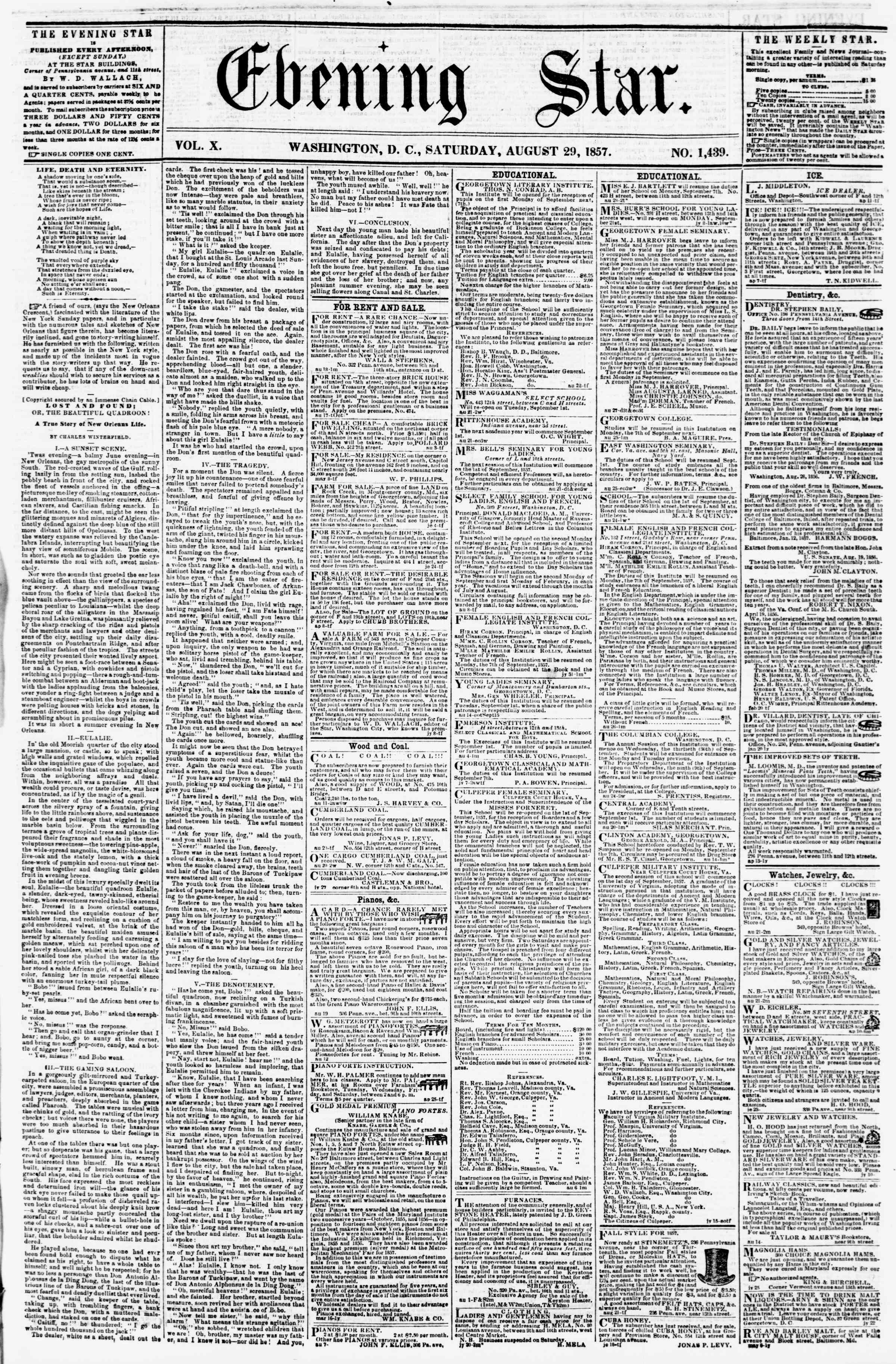Newspaper of Evening Star dated August 29, 1857 Page 1