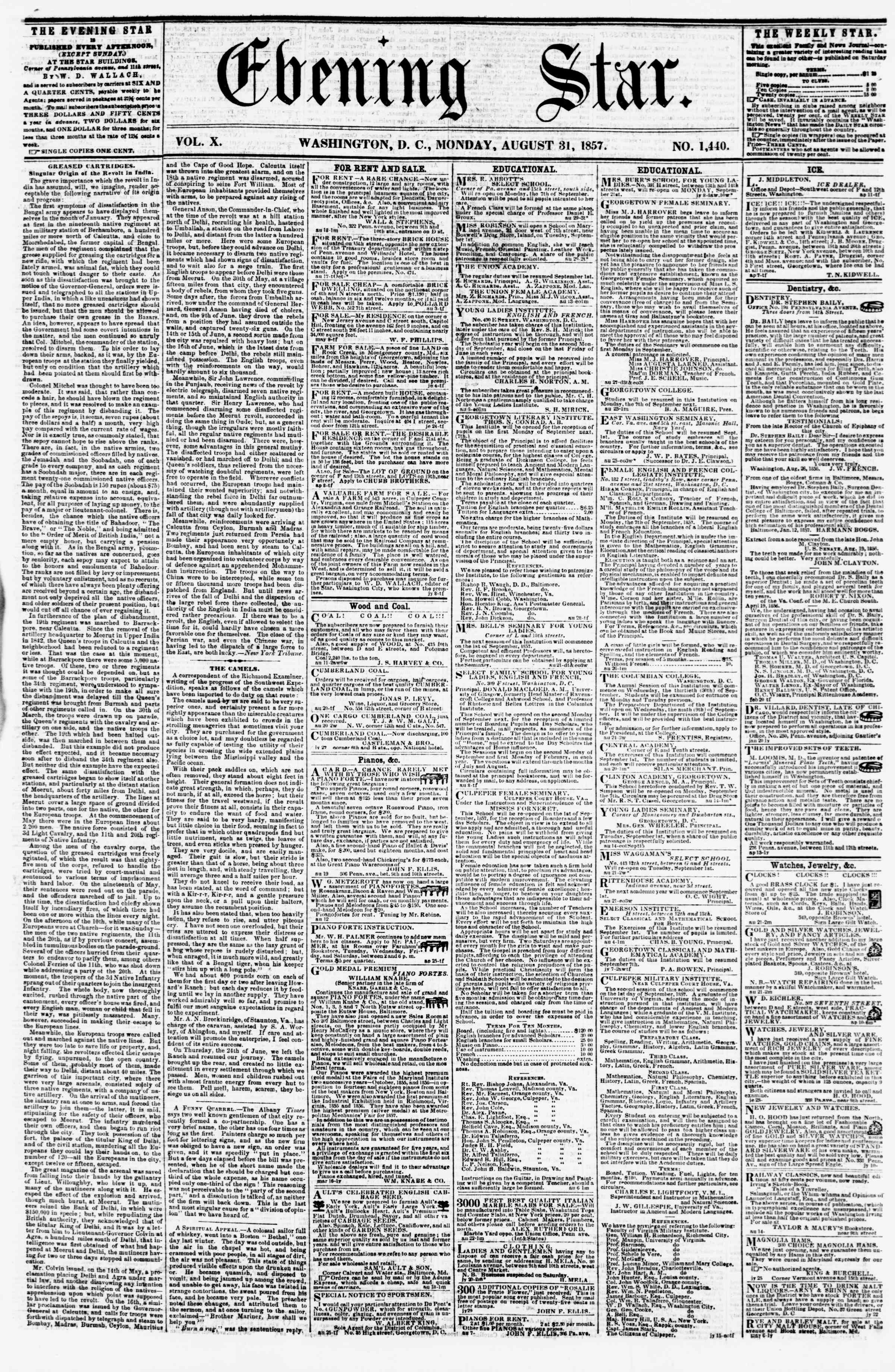 Newspaper of Evening Star dated August 31, 1857 Page 1