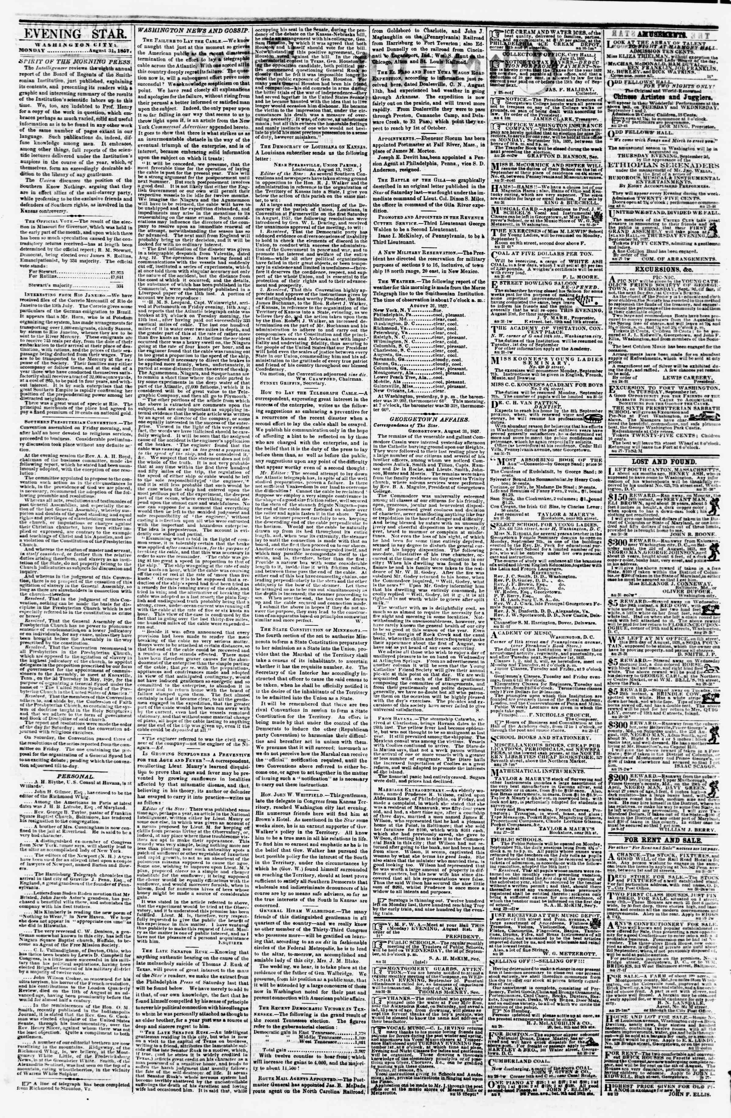 31 Ağustos 1857 tarihli Evening Star Gazetesi Sayfa 2
