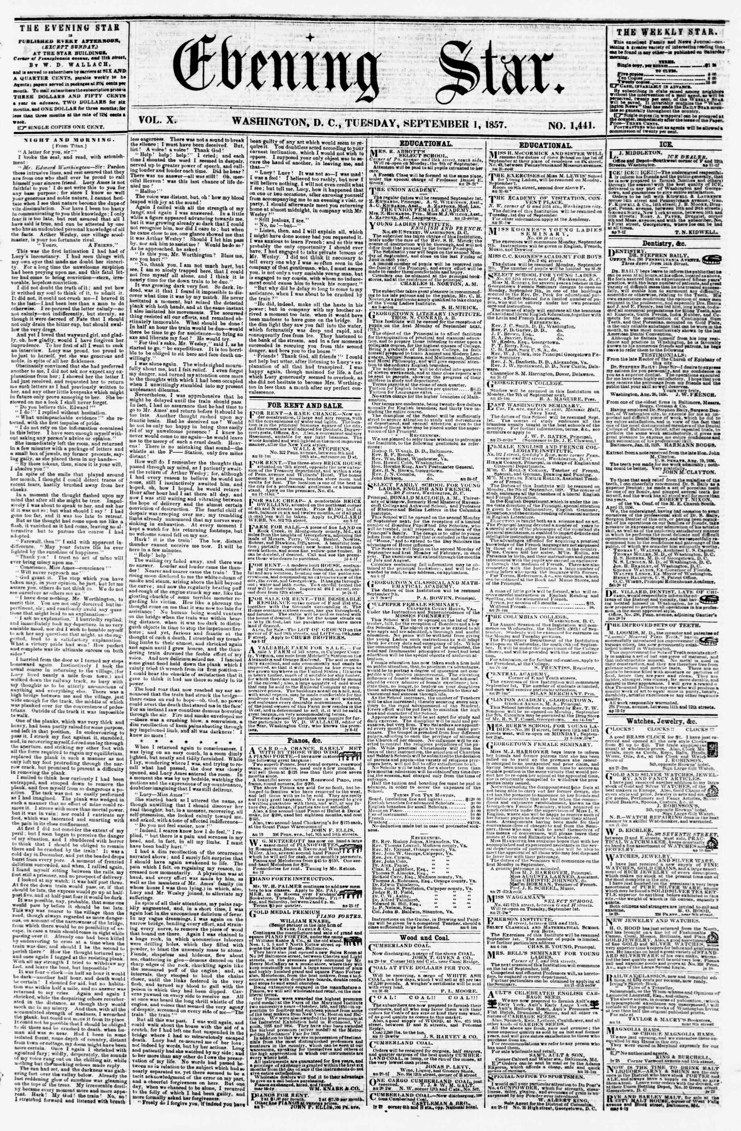 Newspaper of Evening Star dated 1 Eylül 1857 Page 1