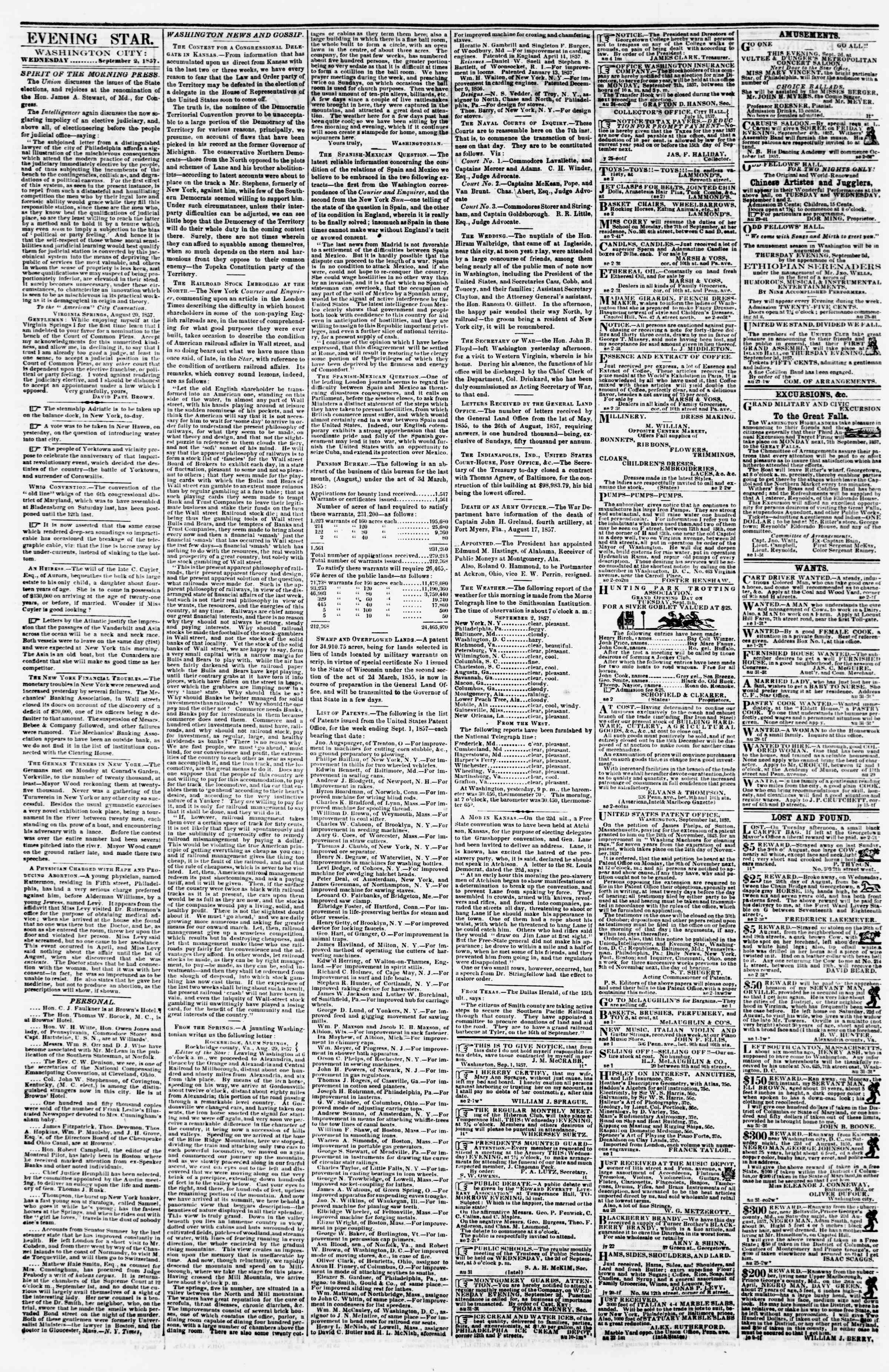Newspaper of Evening Star dated September 2, 1857 Page 2