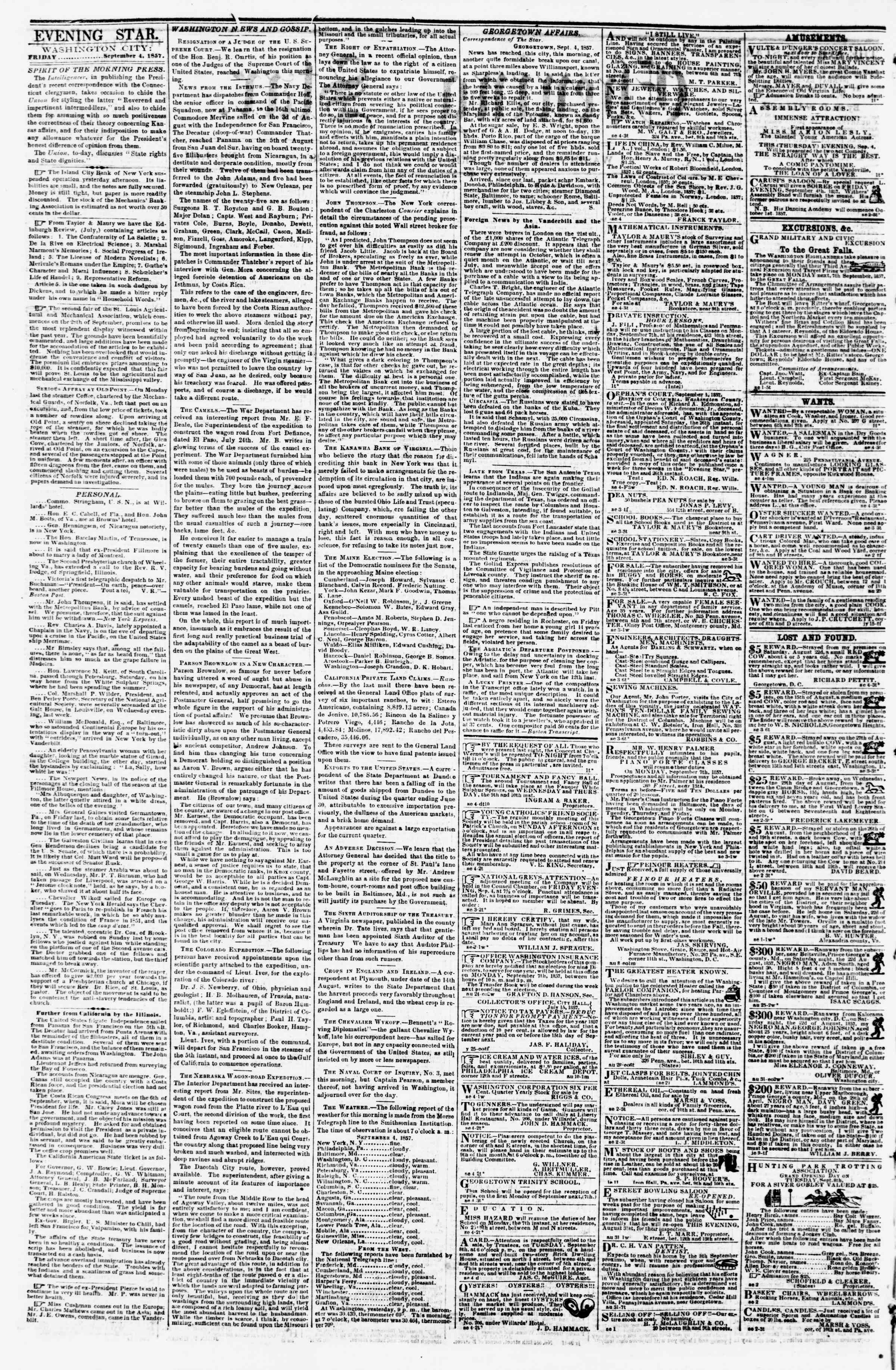 Newspaper of Evening Star dated September 4, 1857 Page 2