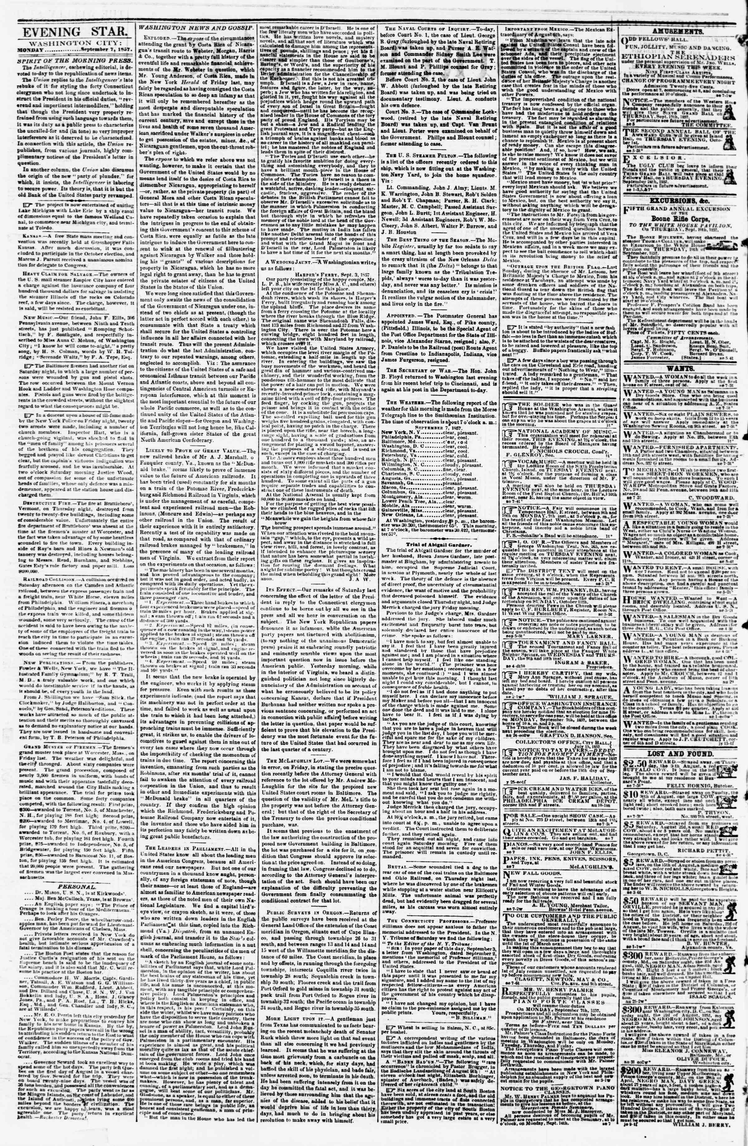 Newspaper of Evening Star dated September 7, 1857 Page 2