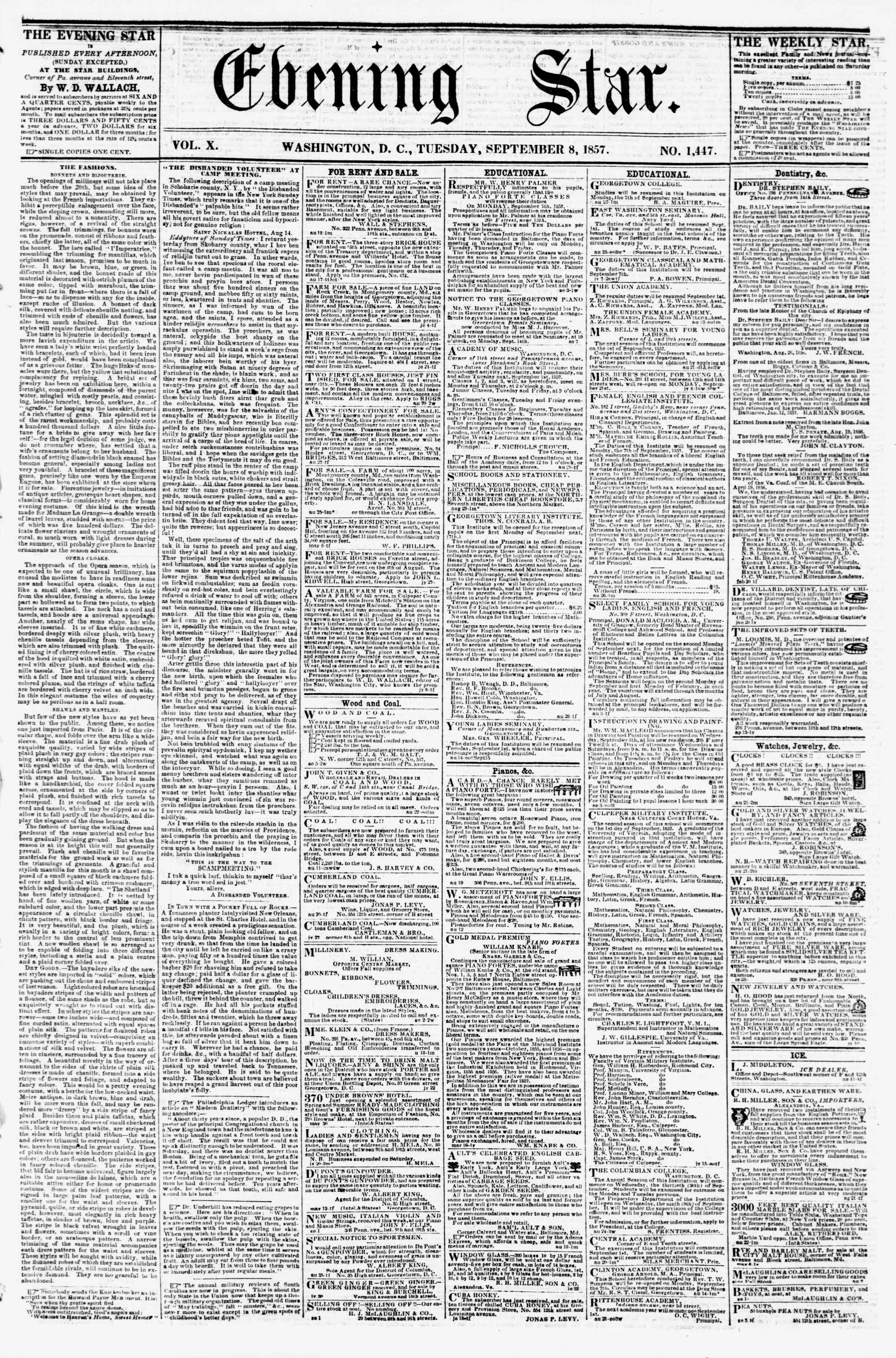 Newspaper of Evening Star dated September 8, 1857 Page 1