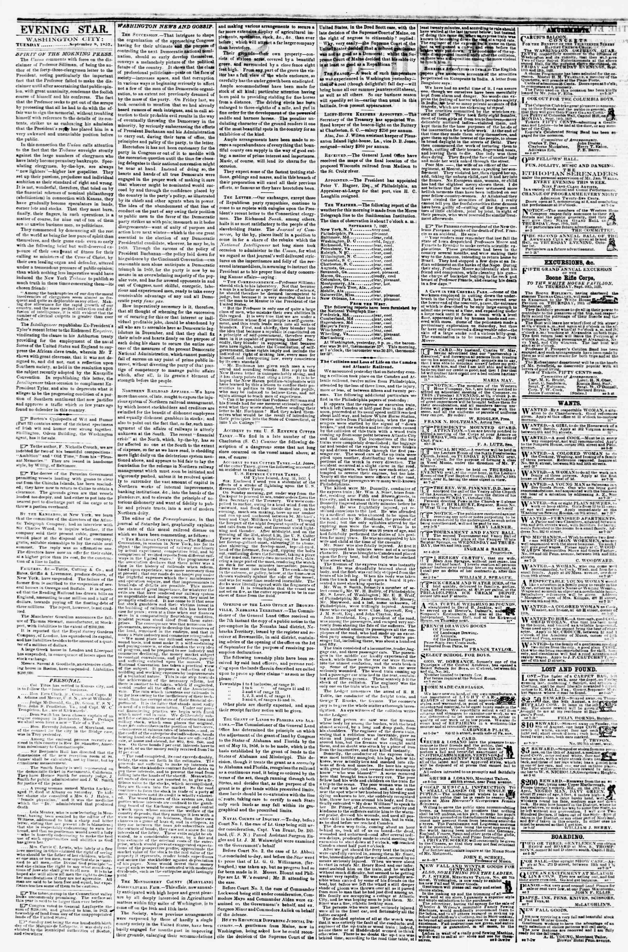 Newspaper of Evening Star dated September 8, 1857 Page 2