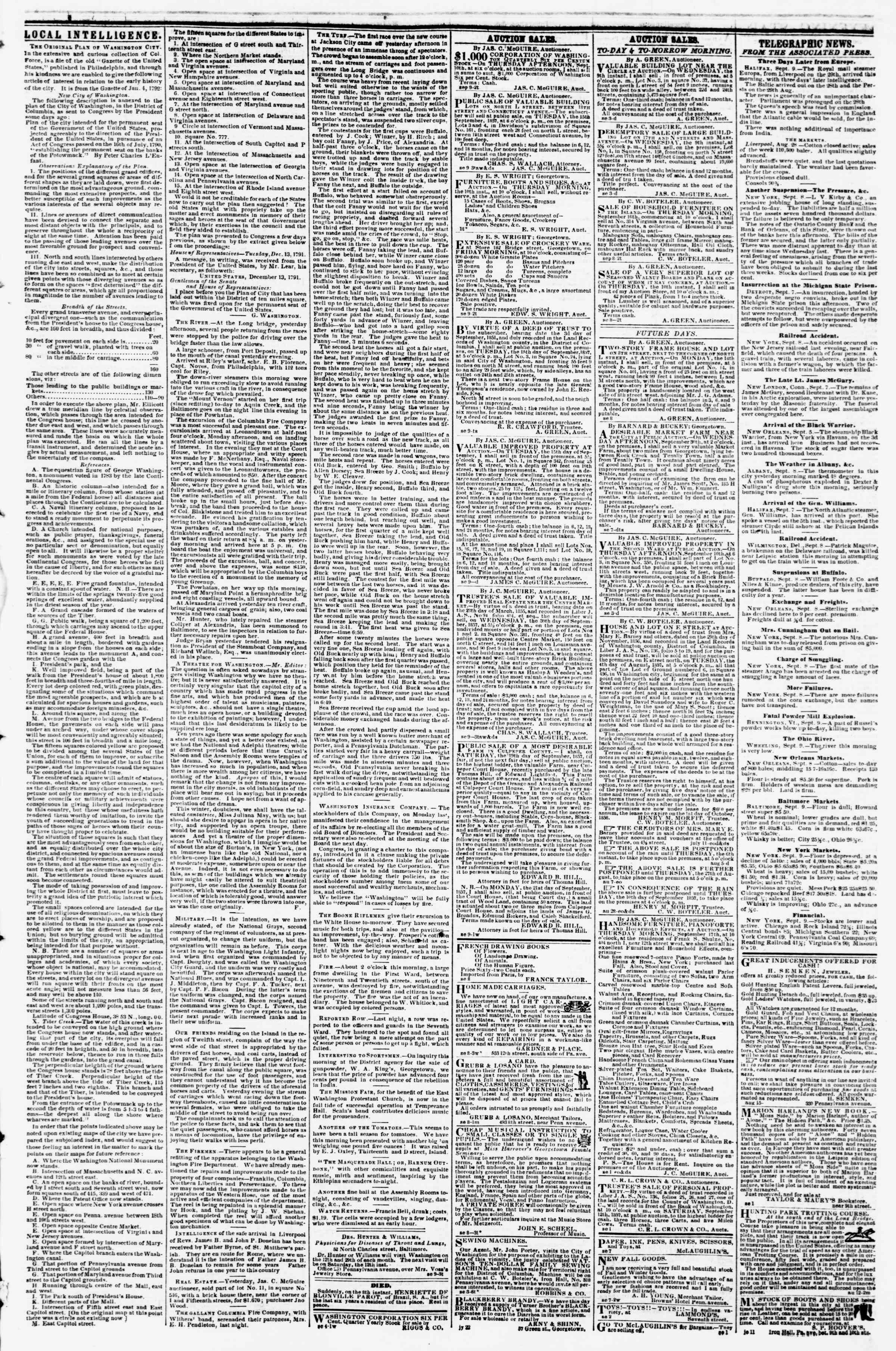 Newspaper of Evening Star dated September 9, 1857 Page 3