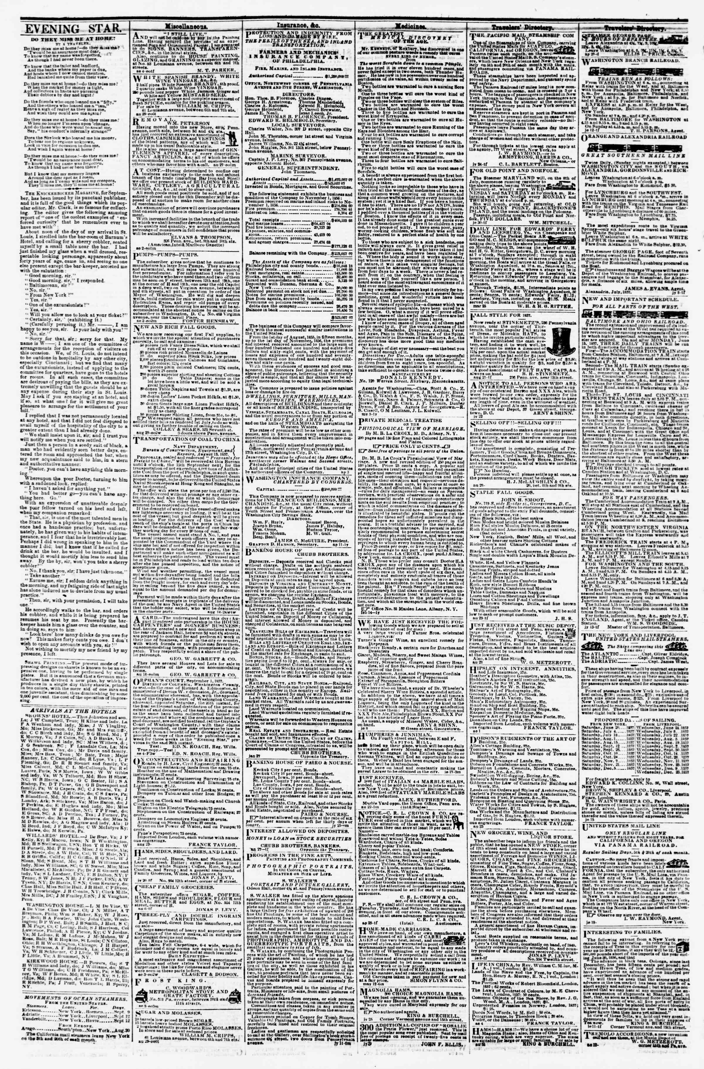 Newspaper of Evening Star dated September 9, 1857 Page 4