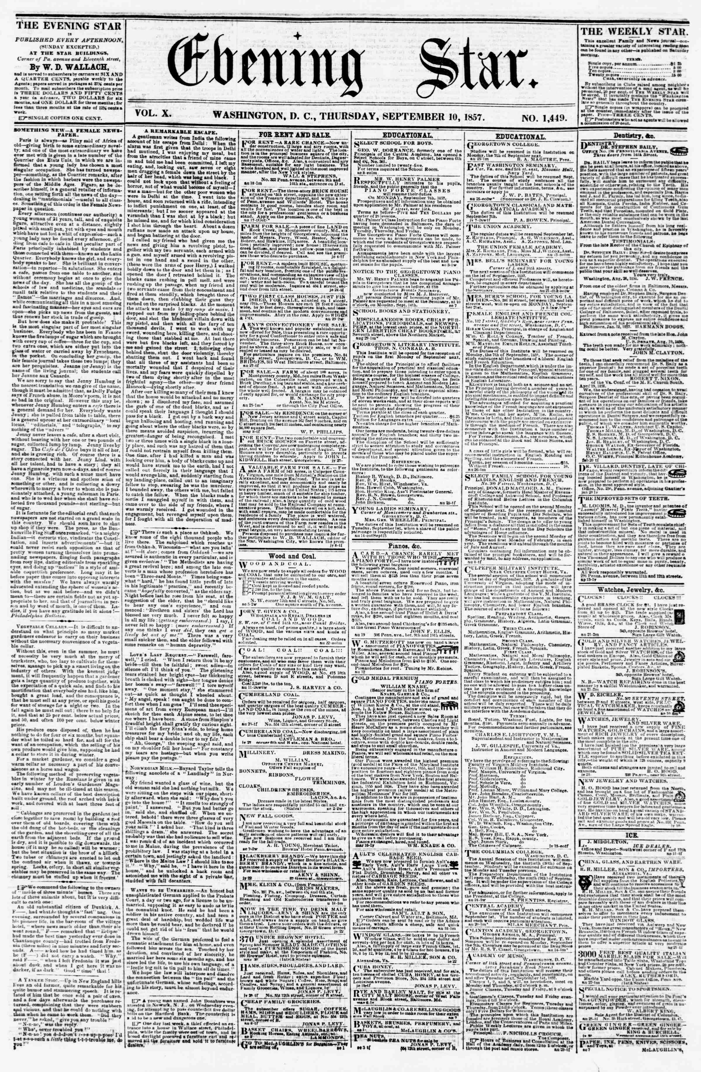 Newspaper of Evening Star dated September 10, 1857 Page 1