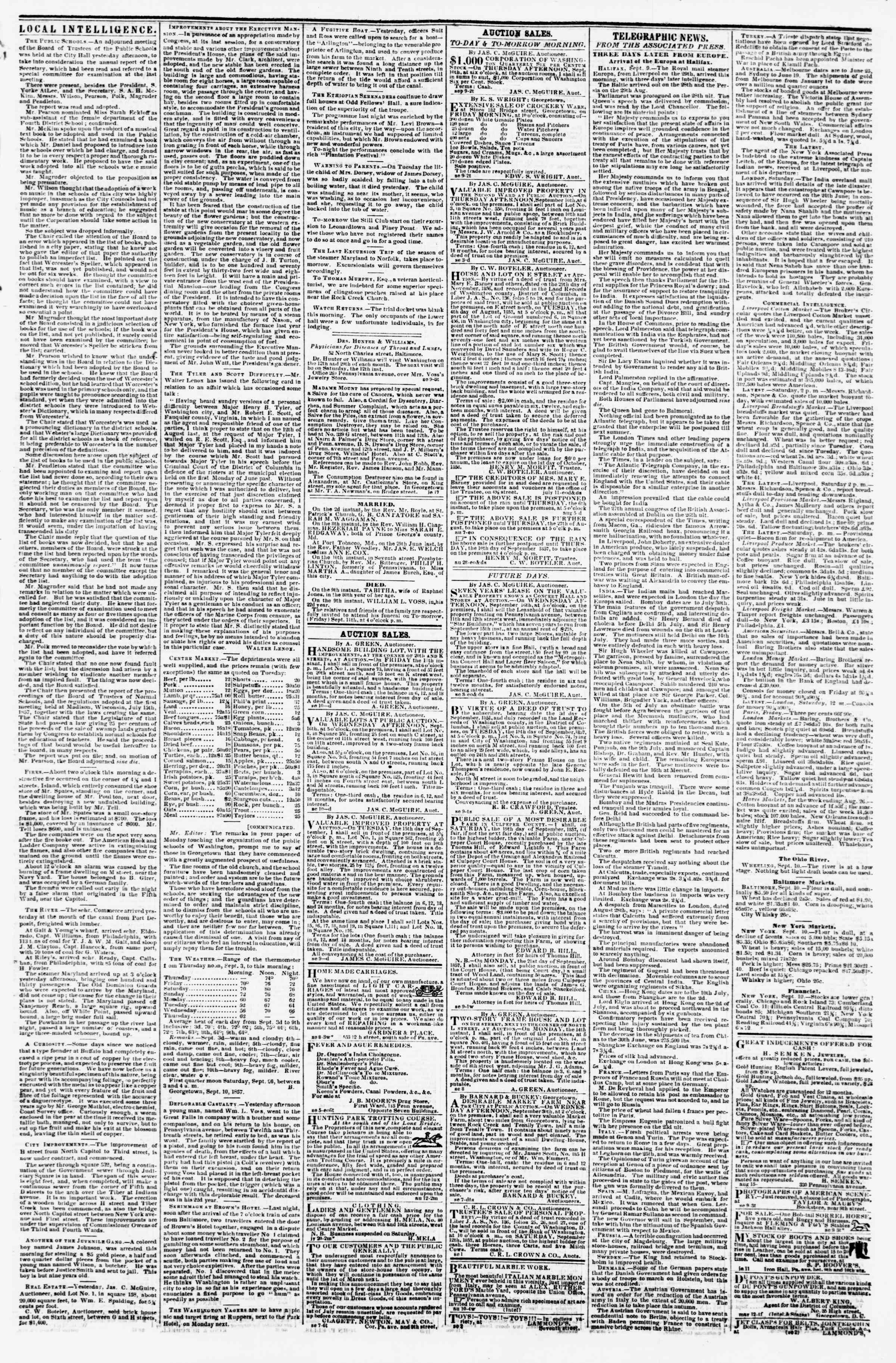 Newspaper of Evening Star dated September 10, 1857 Page 3