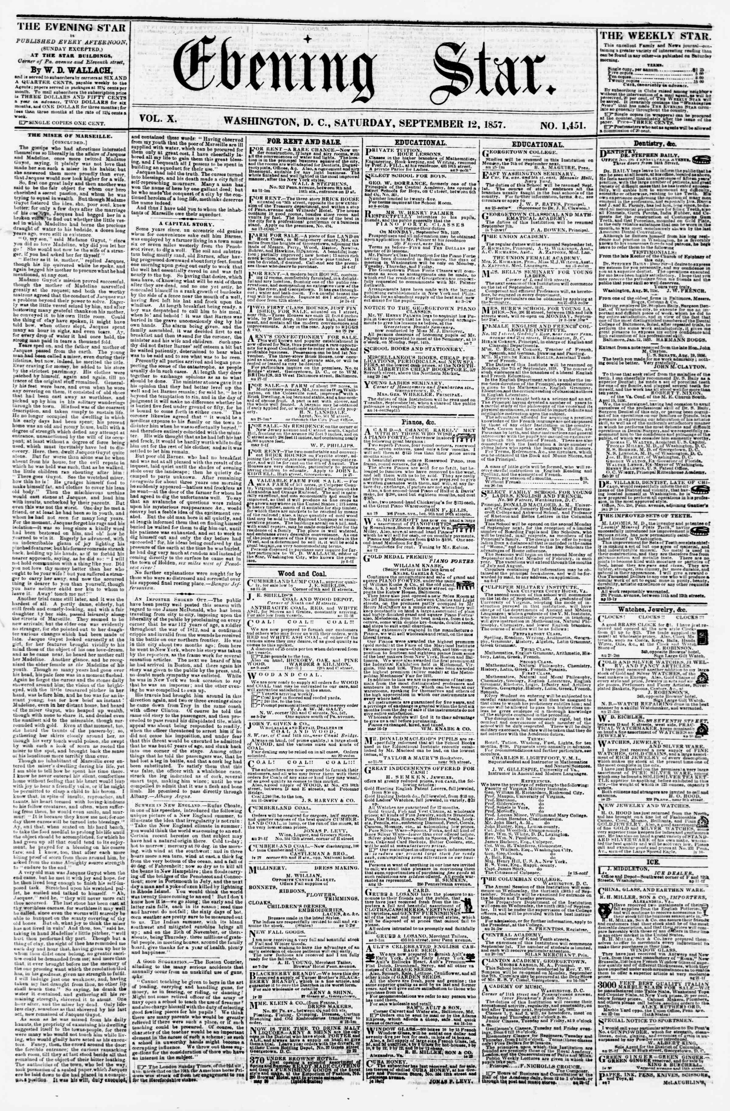 Newspaper of Evening Star dated September 12, 1857 Page 1