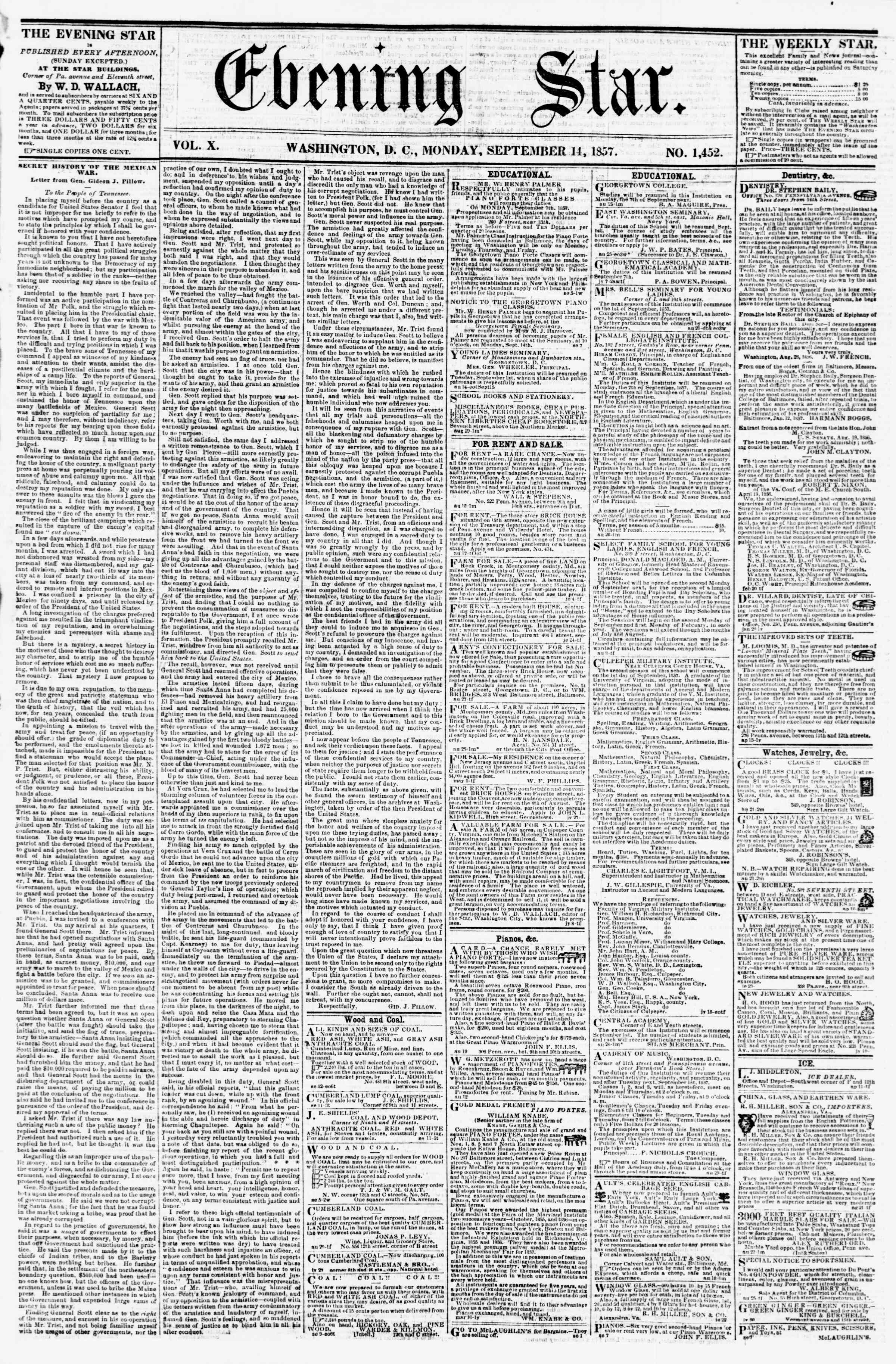 Newspaper of Evening Star dated September 14, 1857 Page 1