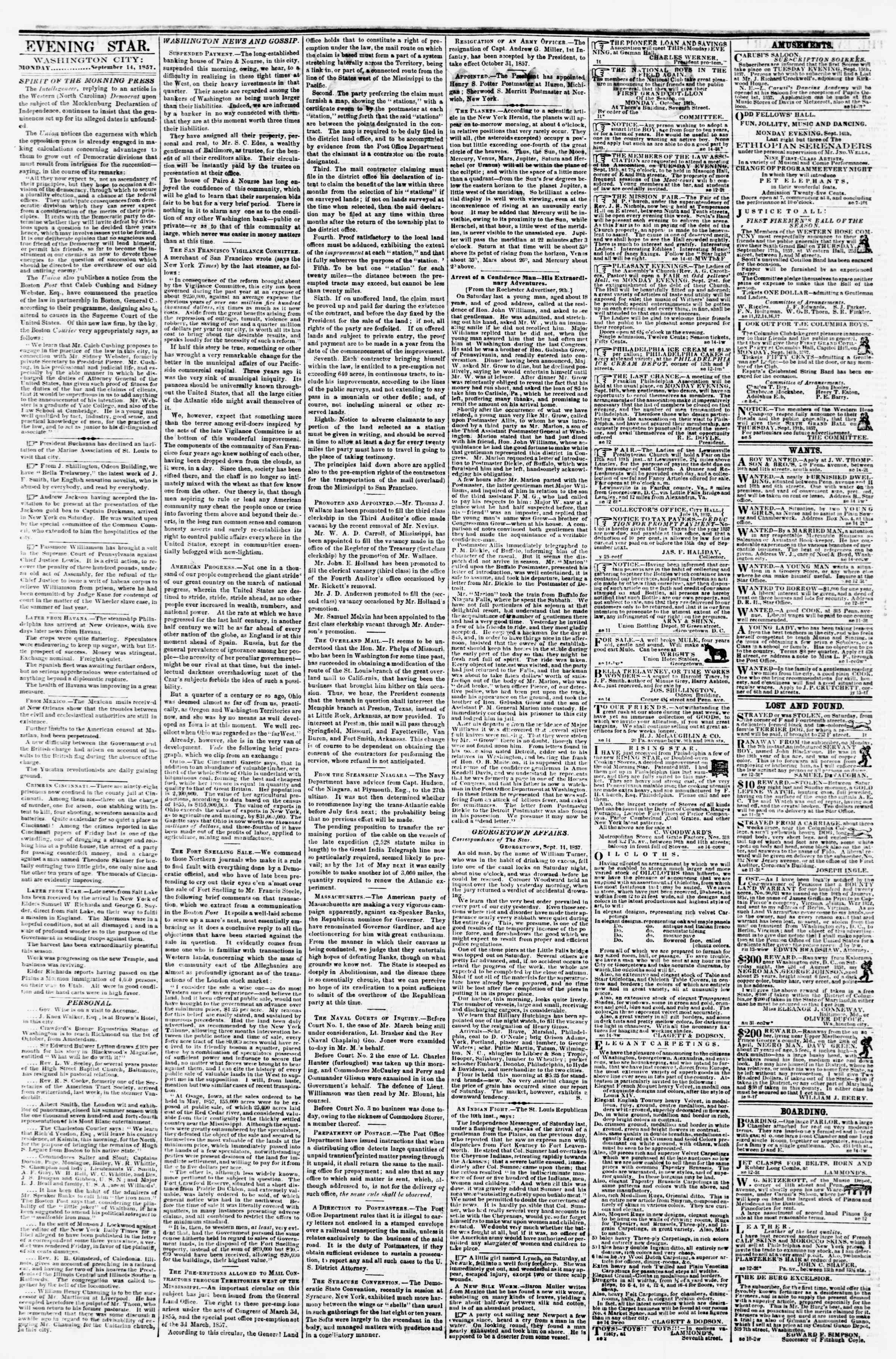 Newspaper of Evening Star dated September 14, 1857 Page 2