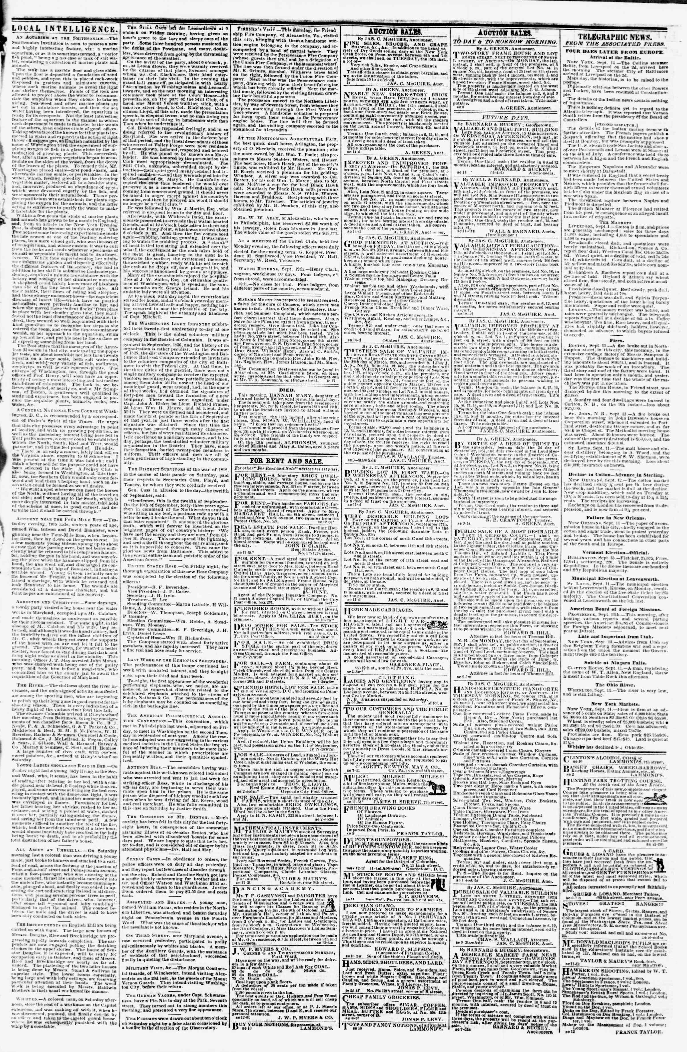 Newspaper of Evening Star dated September 14, 1857 Page 3