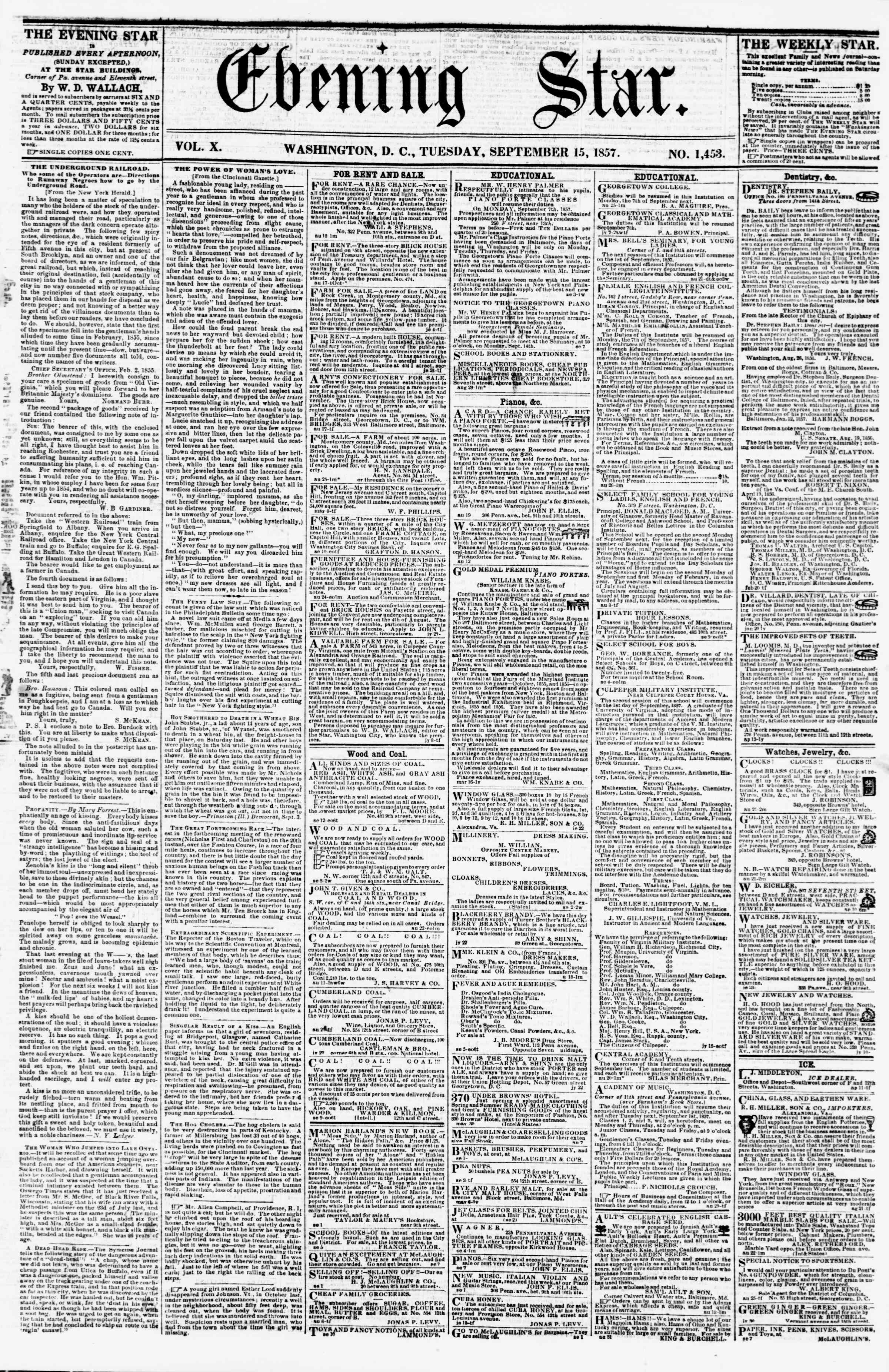 Newspaper of Evening Star dated September 15, 1857 Page 1