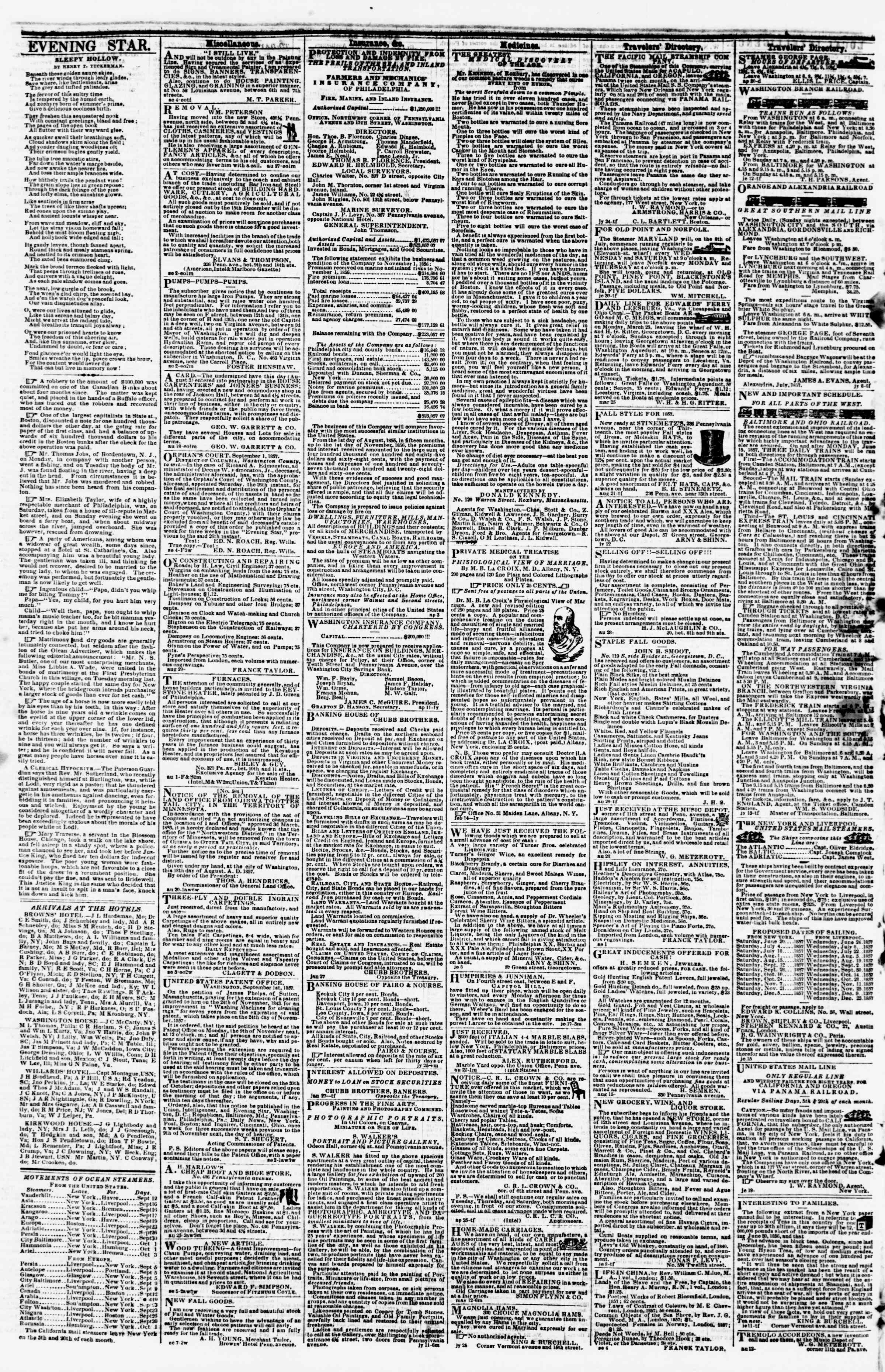Newspaper of Evening Star dated September 15, 1857 Page 4