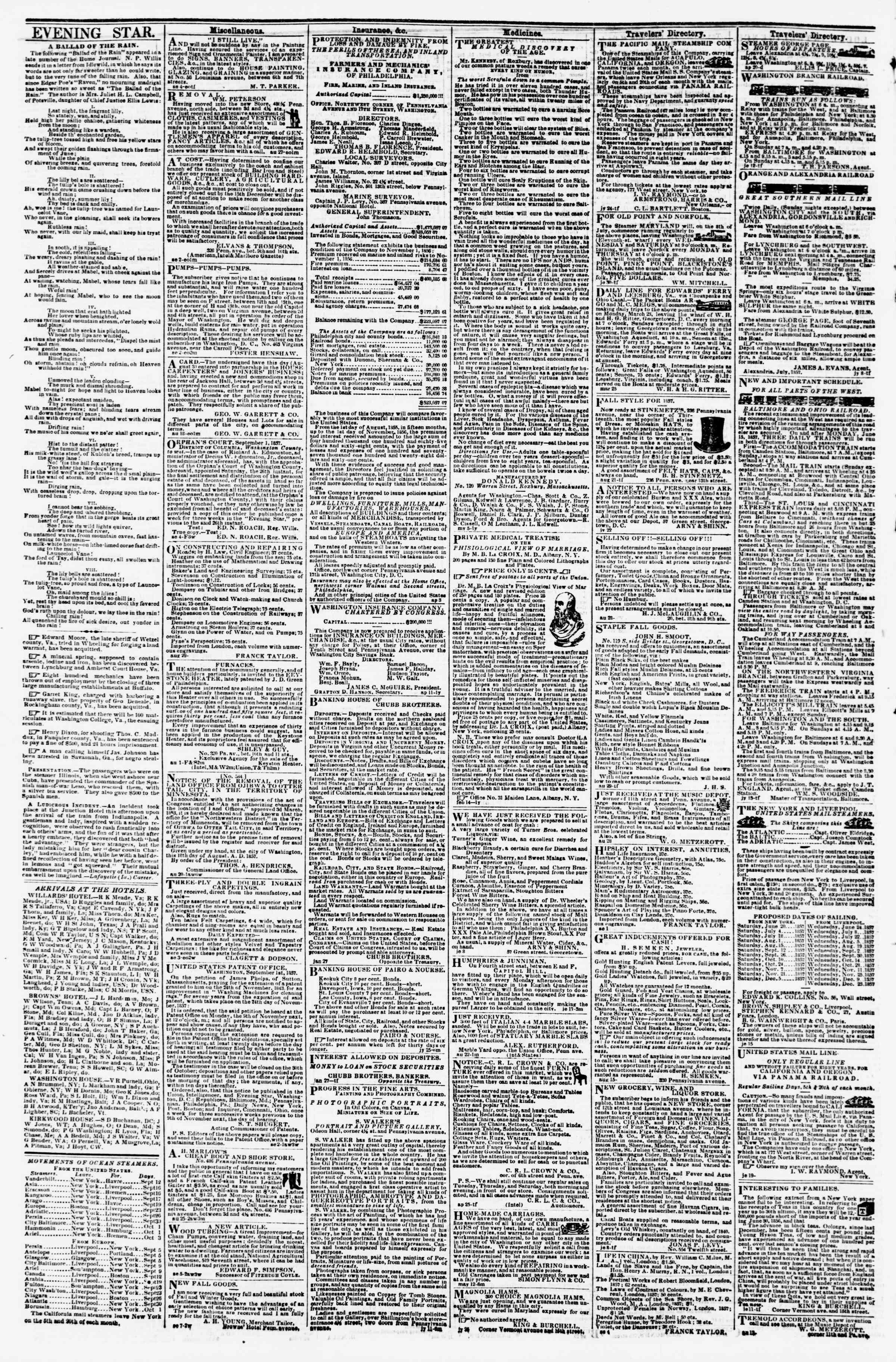 Newspaper of Evening Star dated September 16, 1857 Page 4