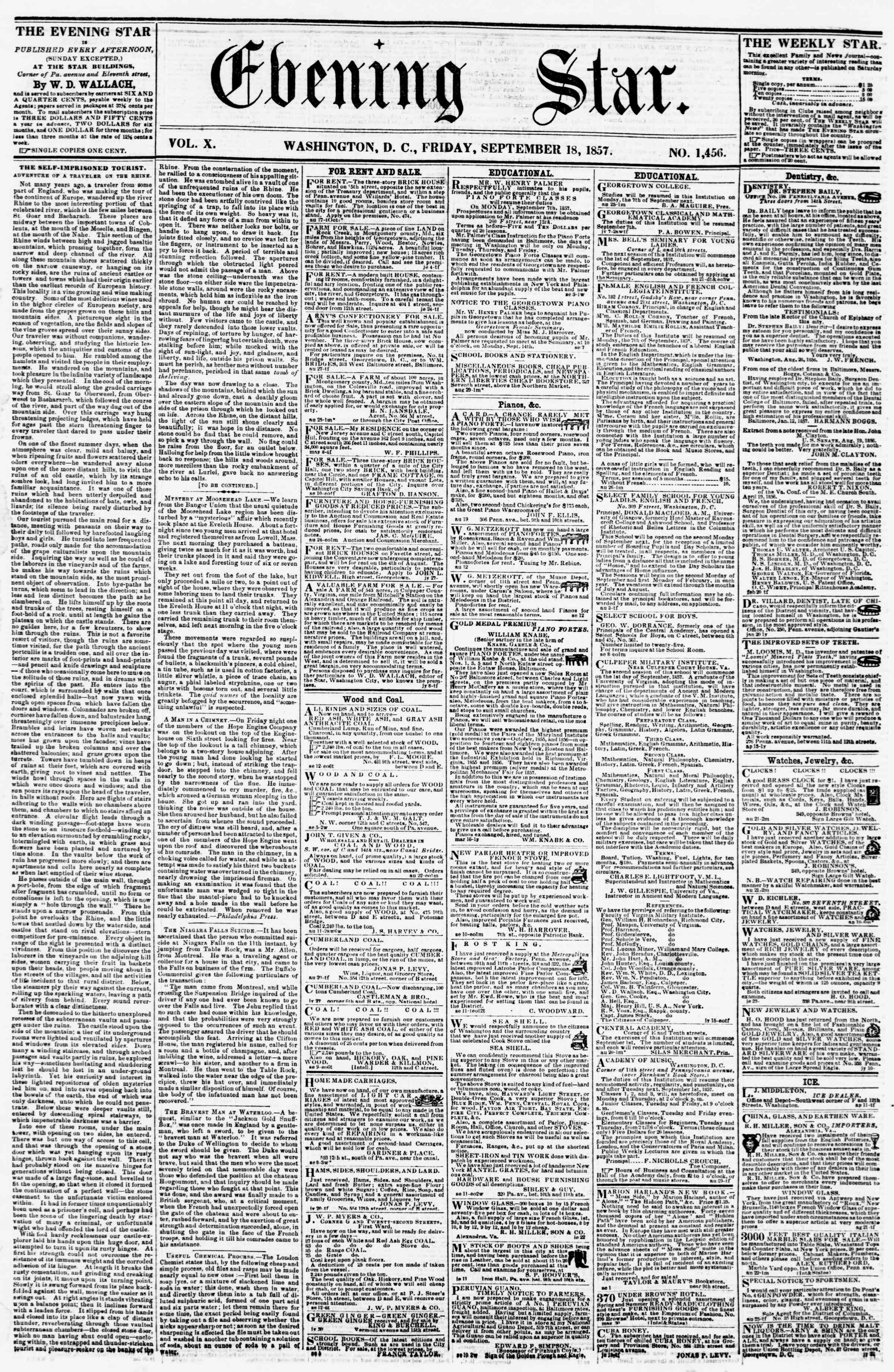 Newspaper of Evening Star dated 18 Eylül 1857 Page 1
