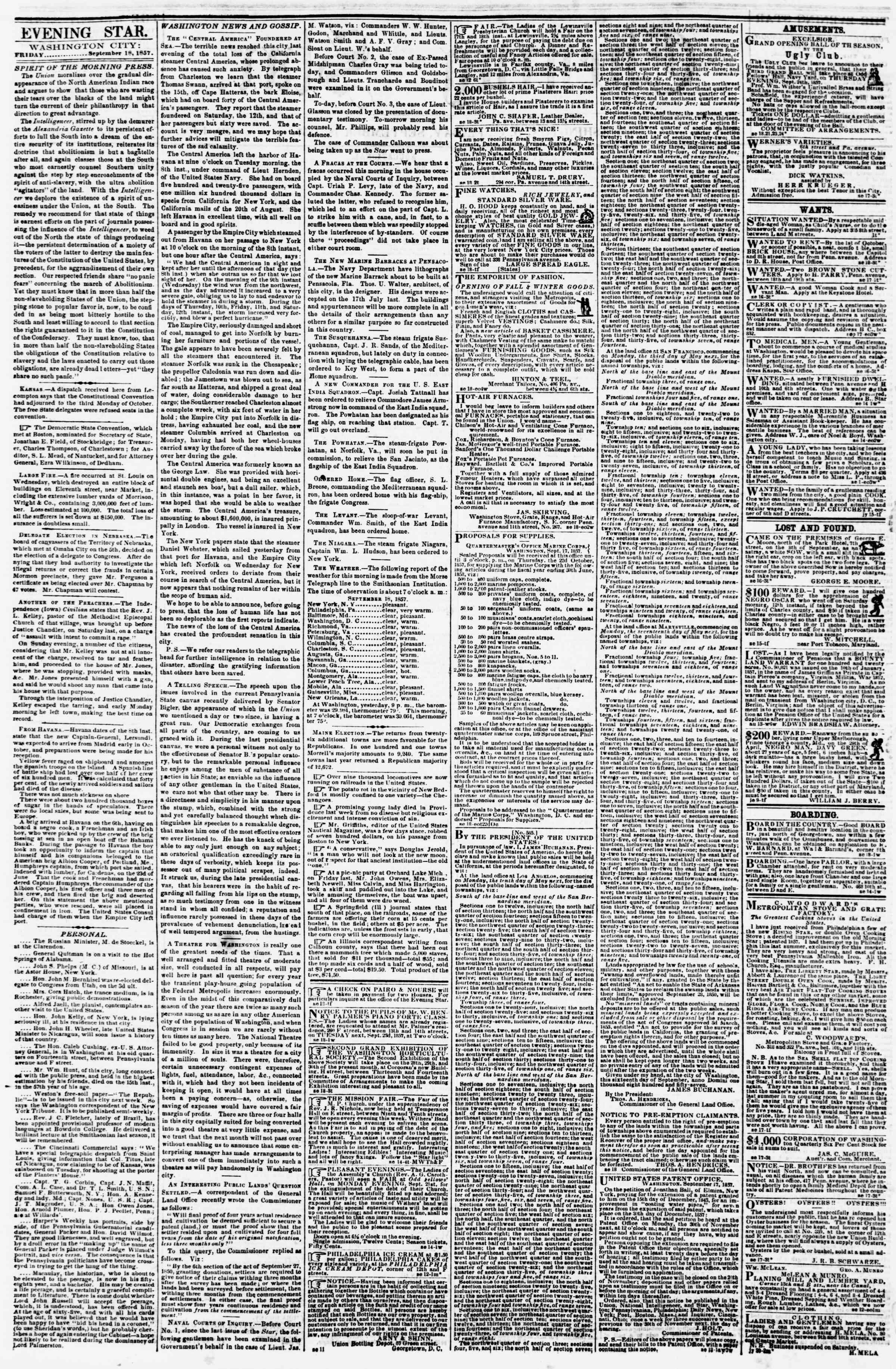 Newspaper of Evening Star dated 18 Eylül 1857 Page 2