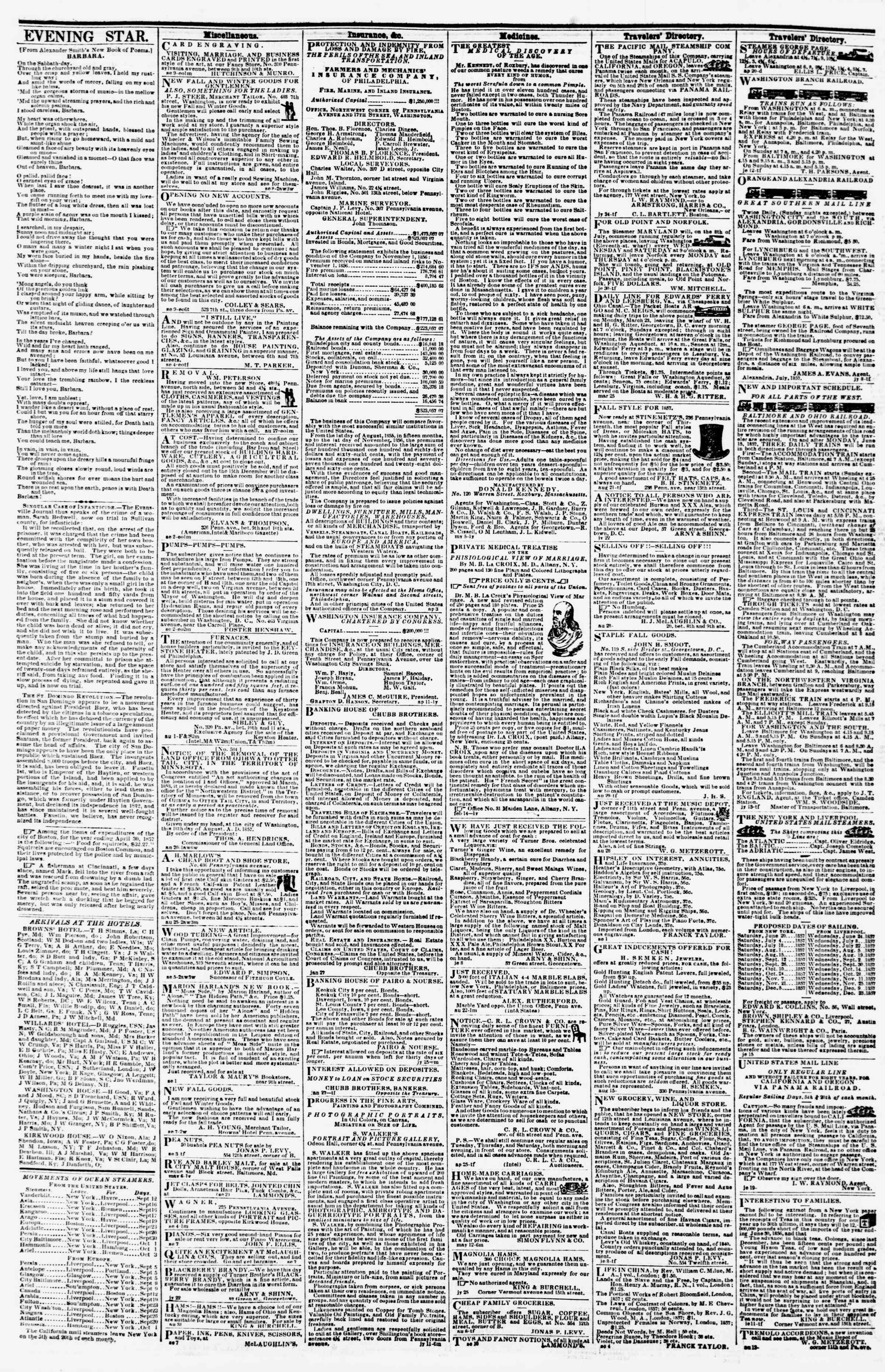 Newspaper of Evening Star dated September 19, 1857 Page 4