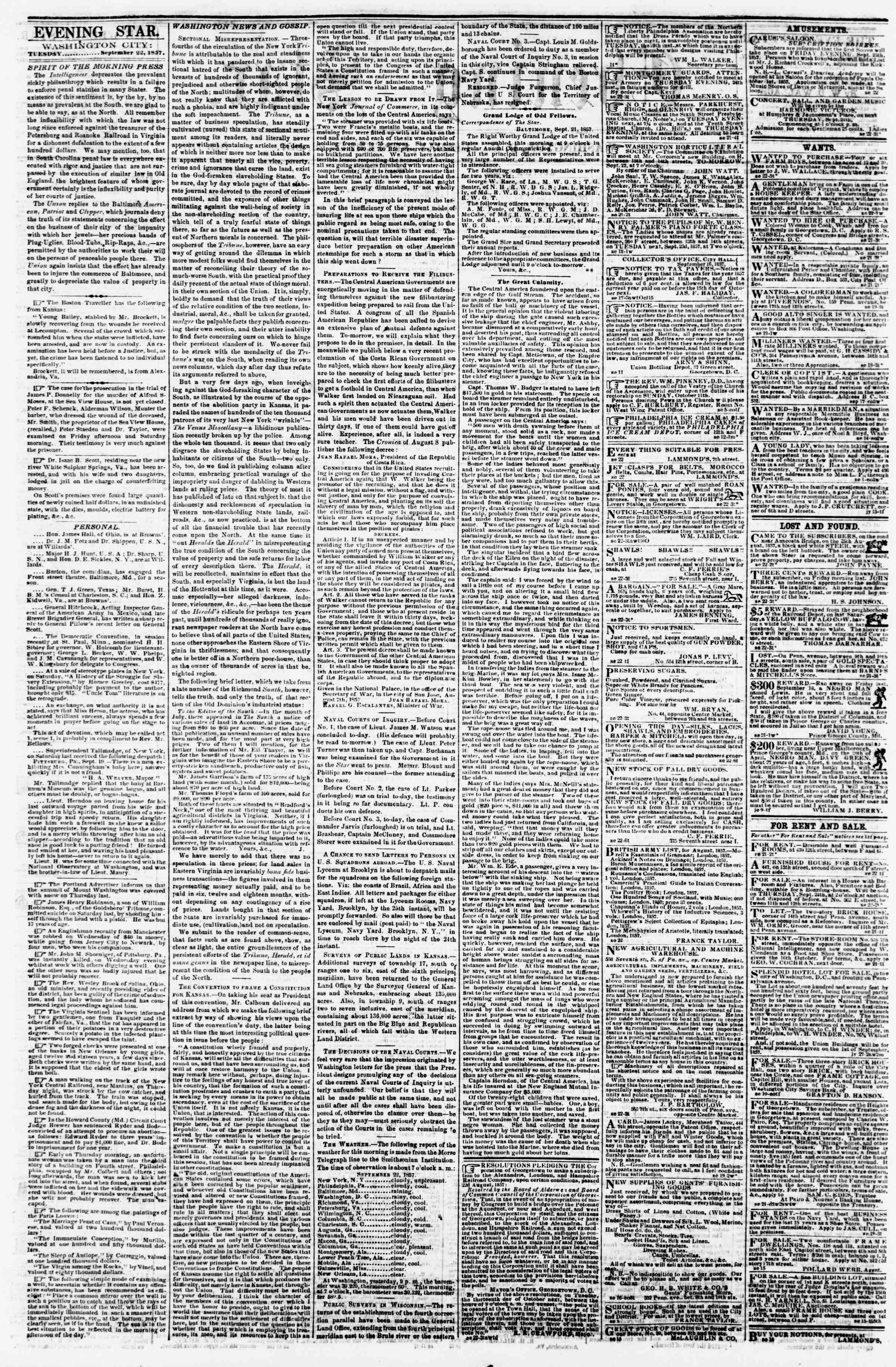 Newspaper of Evening Star dated September 22, 1857 Page 2
