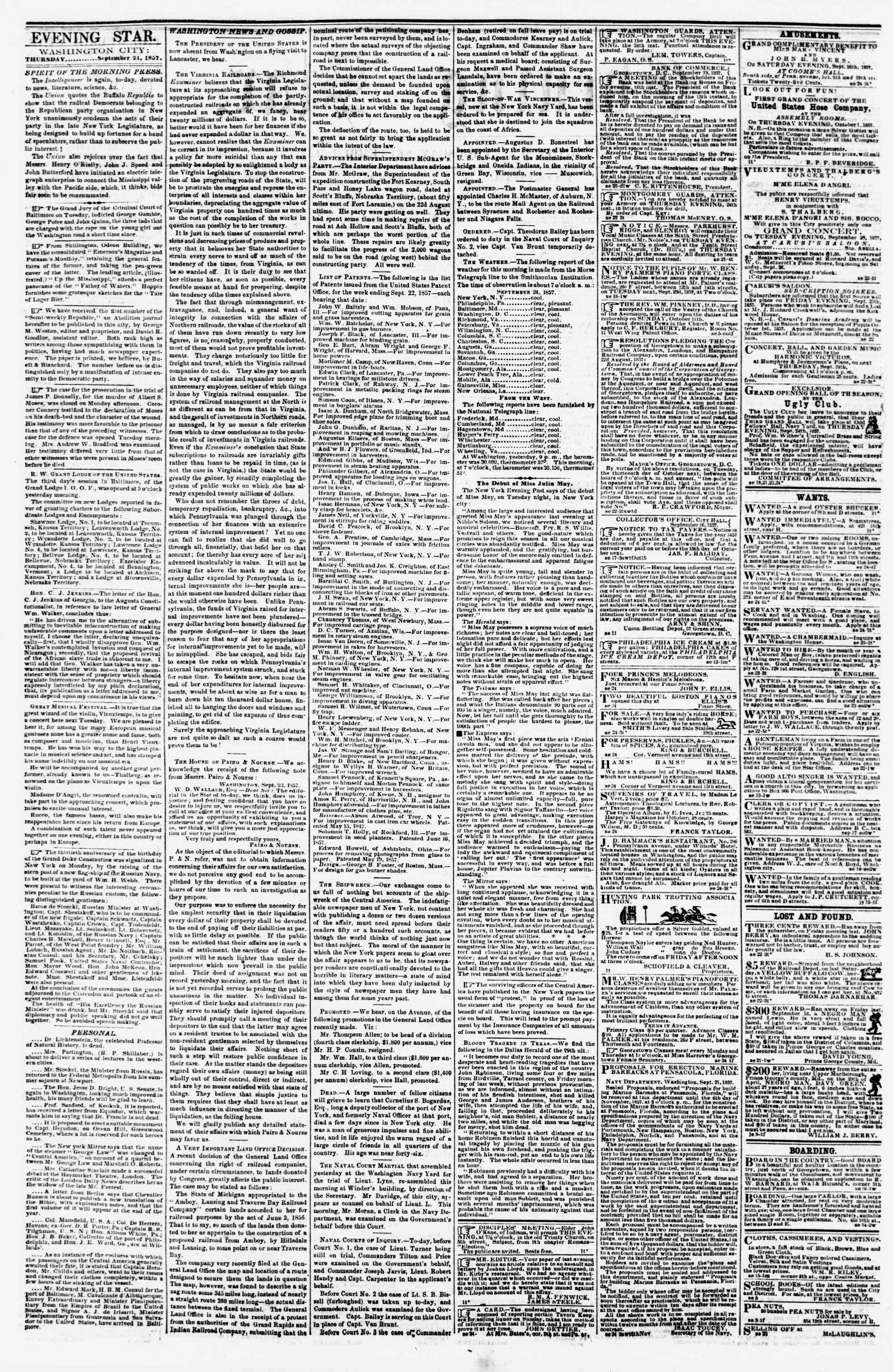 Newspaper of Evening Star dated September 24, 1857 Page 2