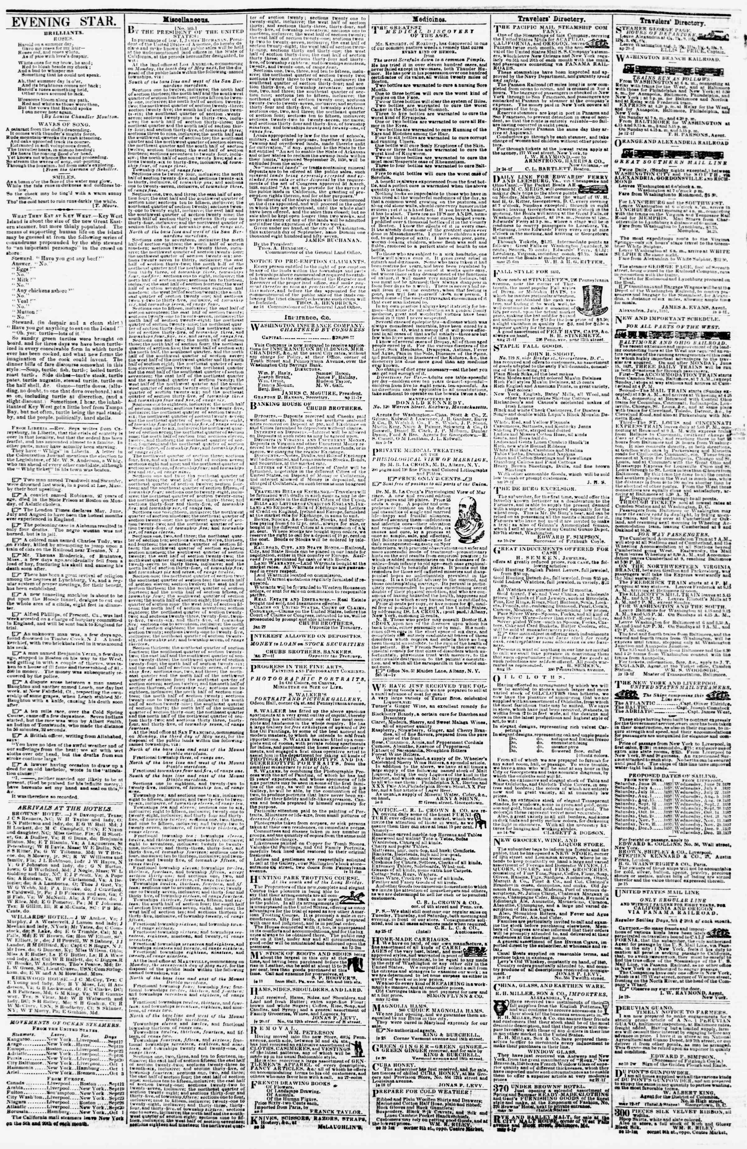 Newspaper of Evening Star dated September 25, 1857 Page 4