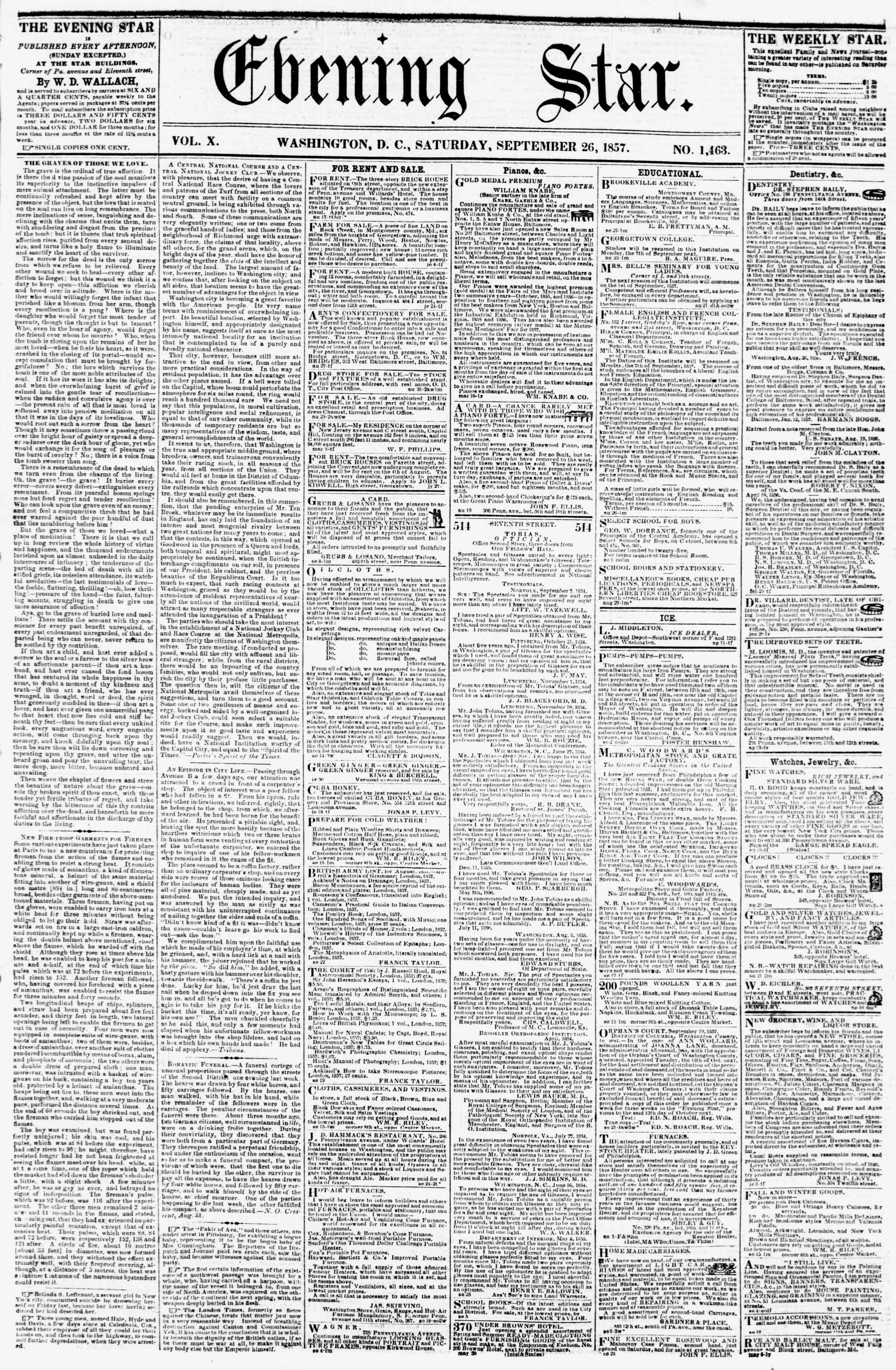 Newspaper of Evening Star dated September 26, 1857 Page 1