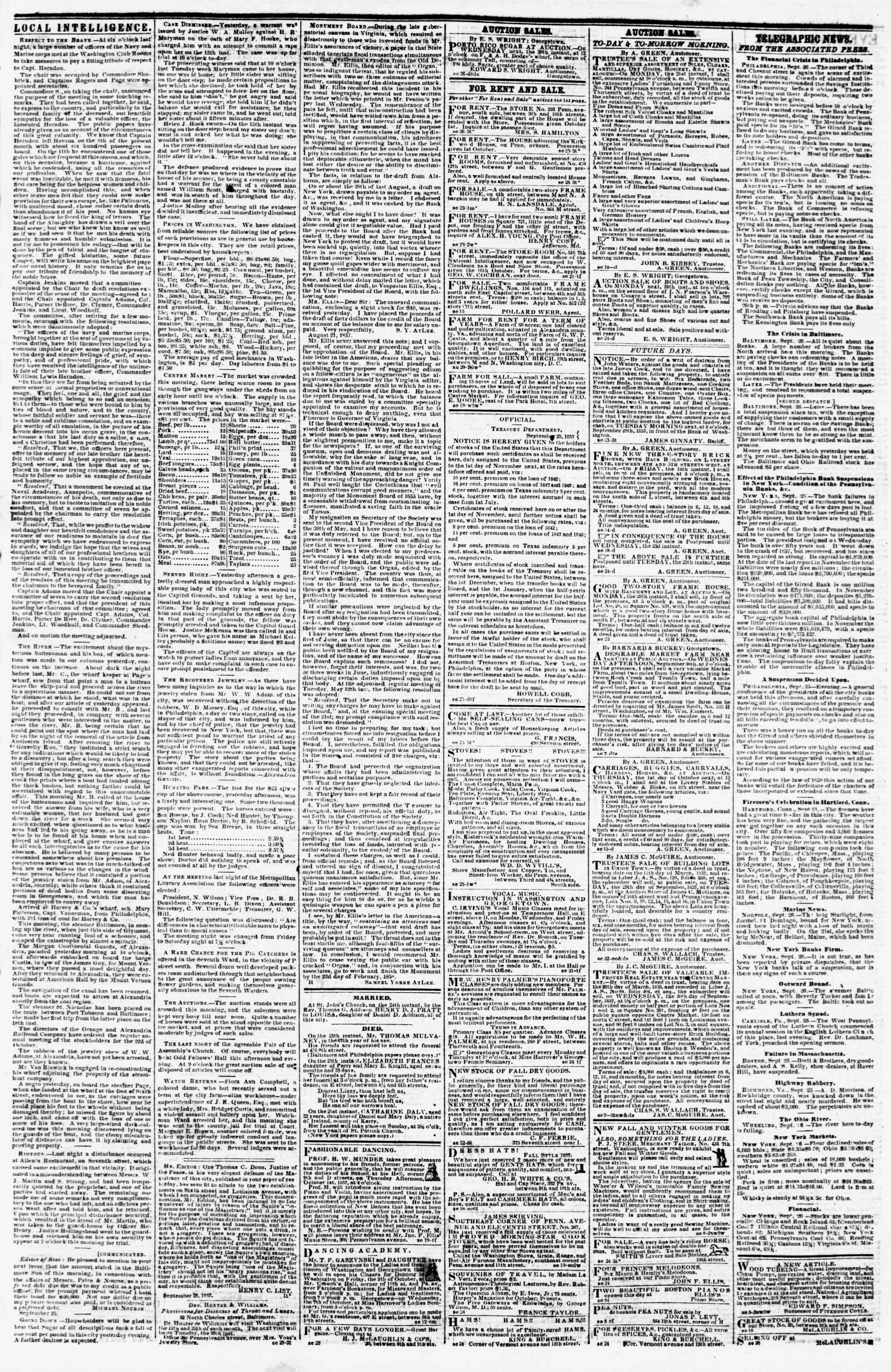 Newspaper of Evening Star dated September 26, 1857 Page 3