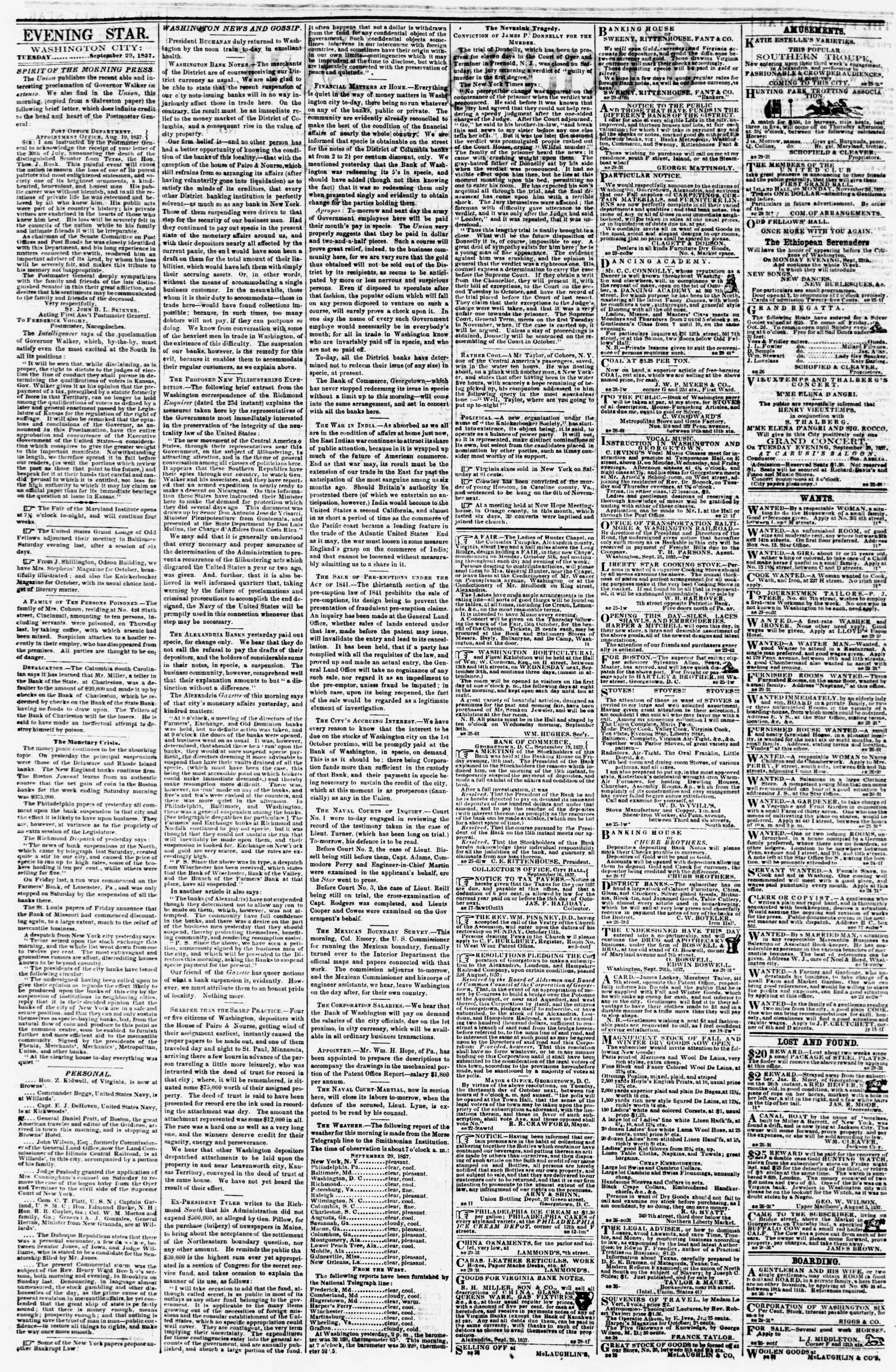 Newspaper of Evening Star dated September 29, 1857 Page 2