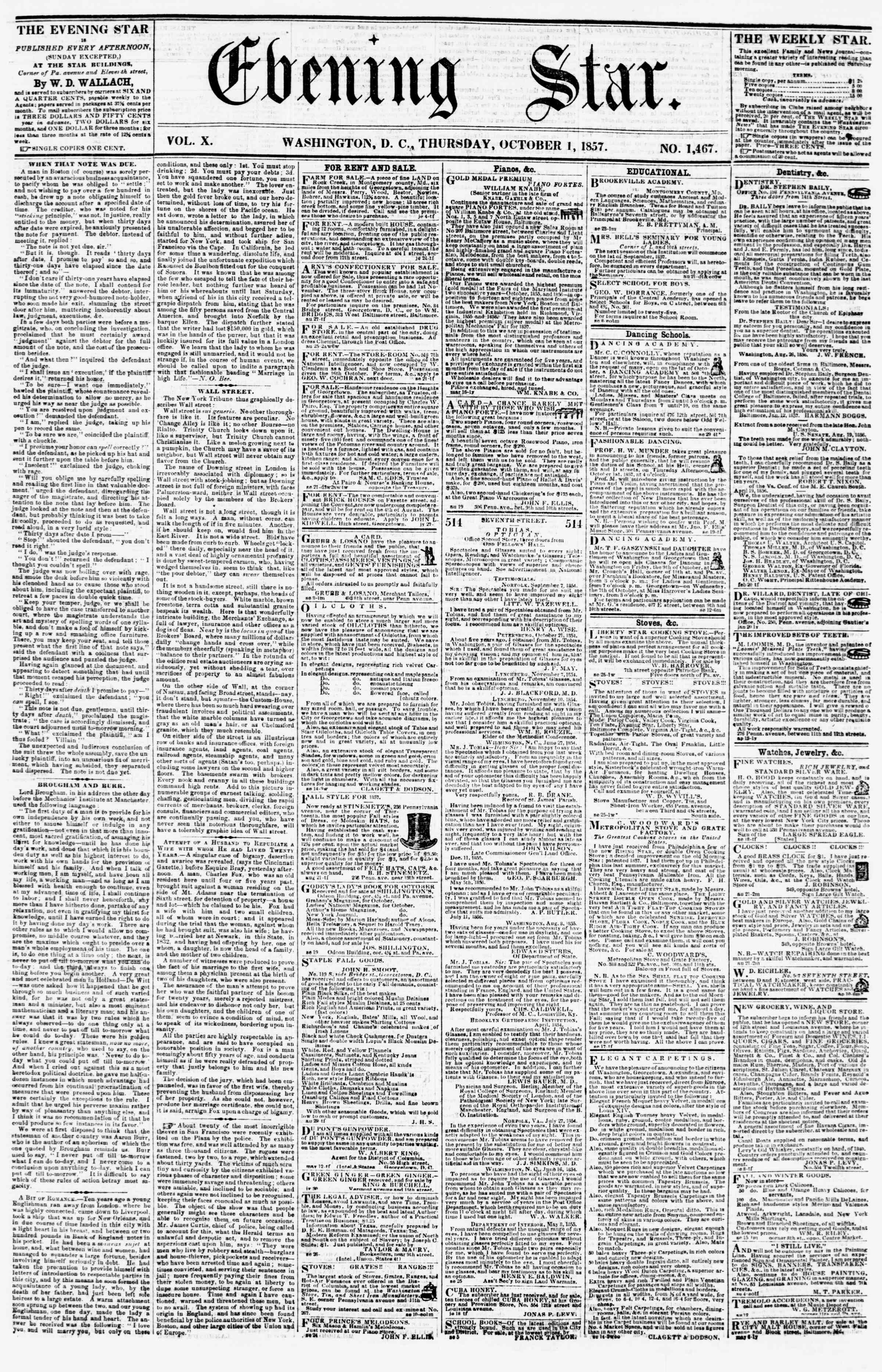 Newspaper of Evening Star dated October 1, 1857 Page 1