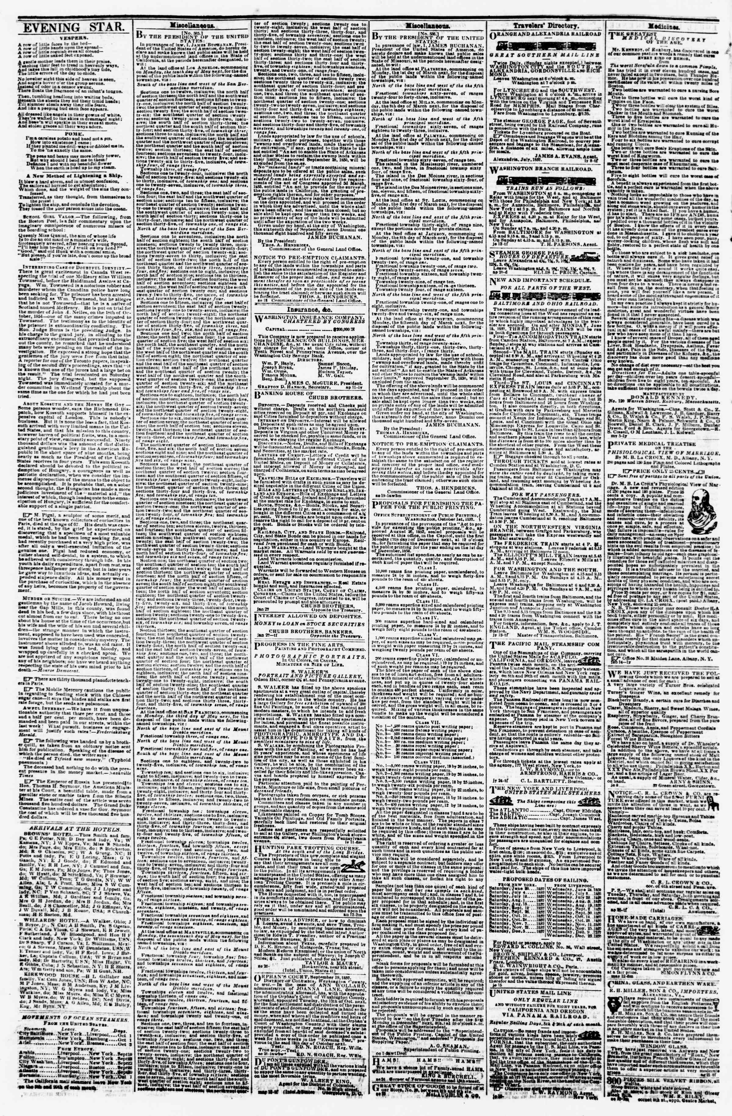 Newspaper of Evening Star dated October 3, 1857 Page 4