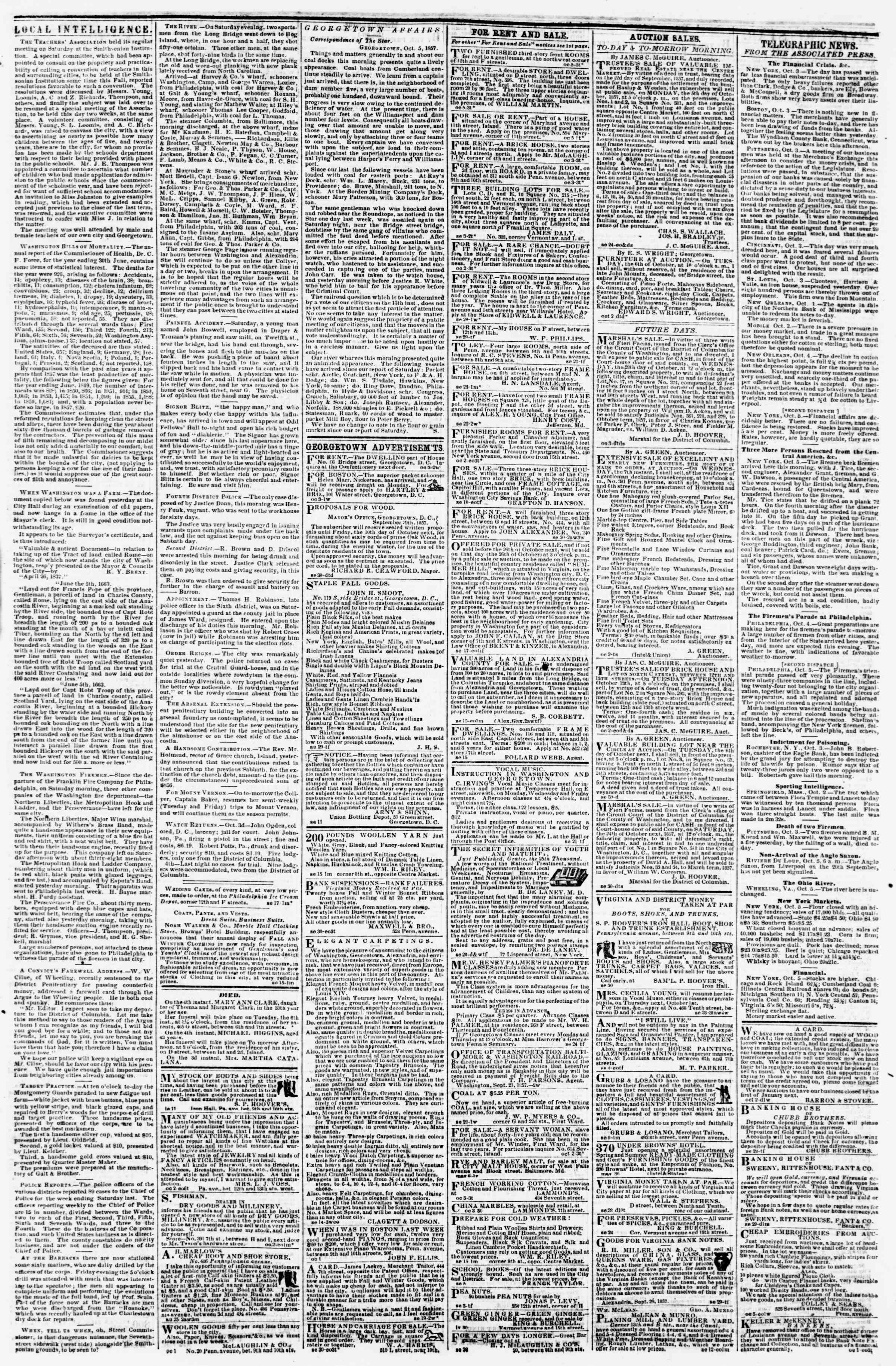 Newspaper of Evening Star dated October 5, 1857 Page 3