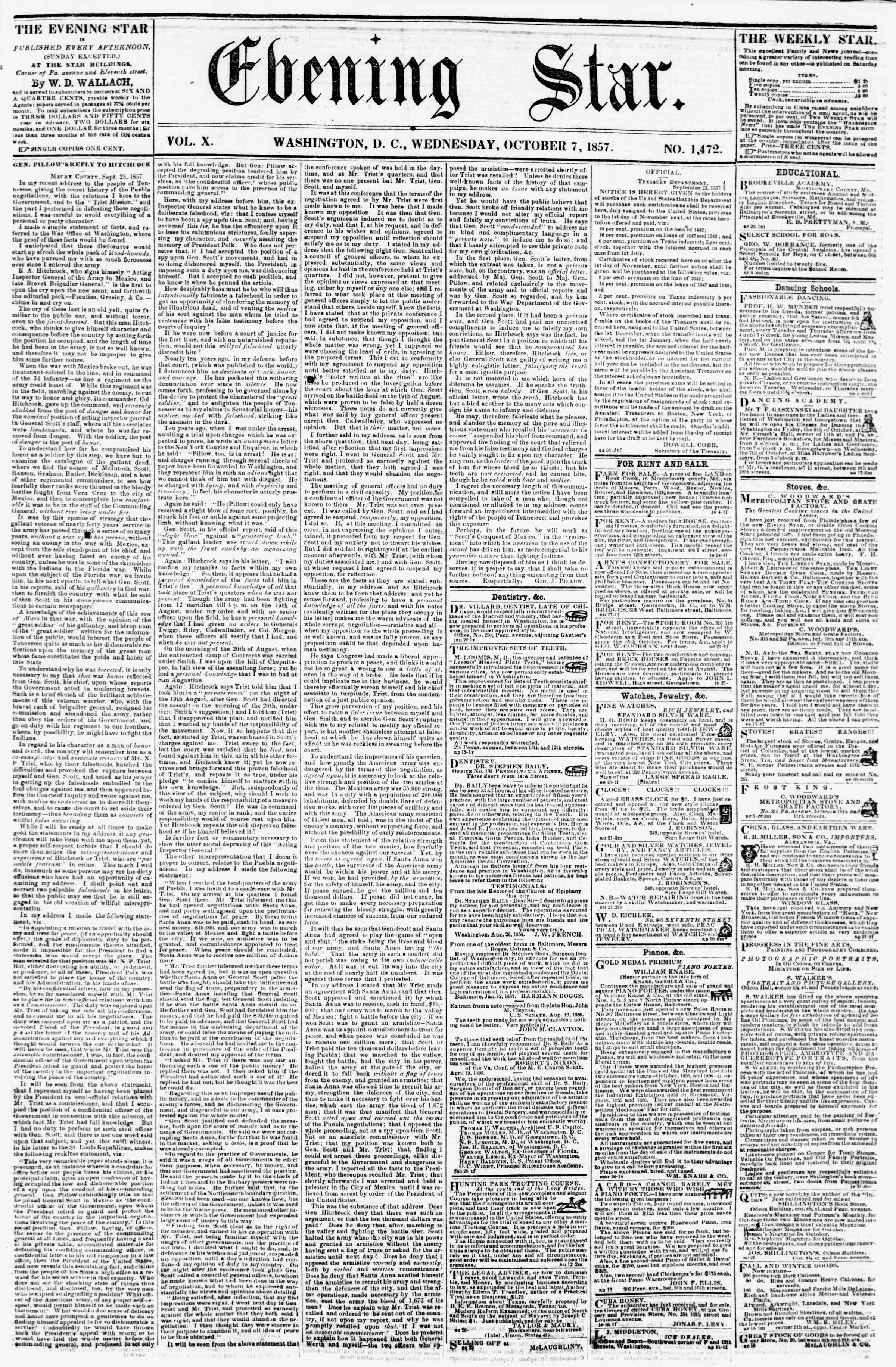 Newspaper of Evening Star dated October 7, 1857 Page 1