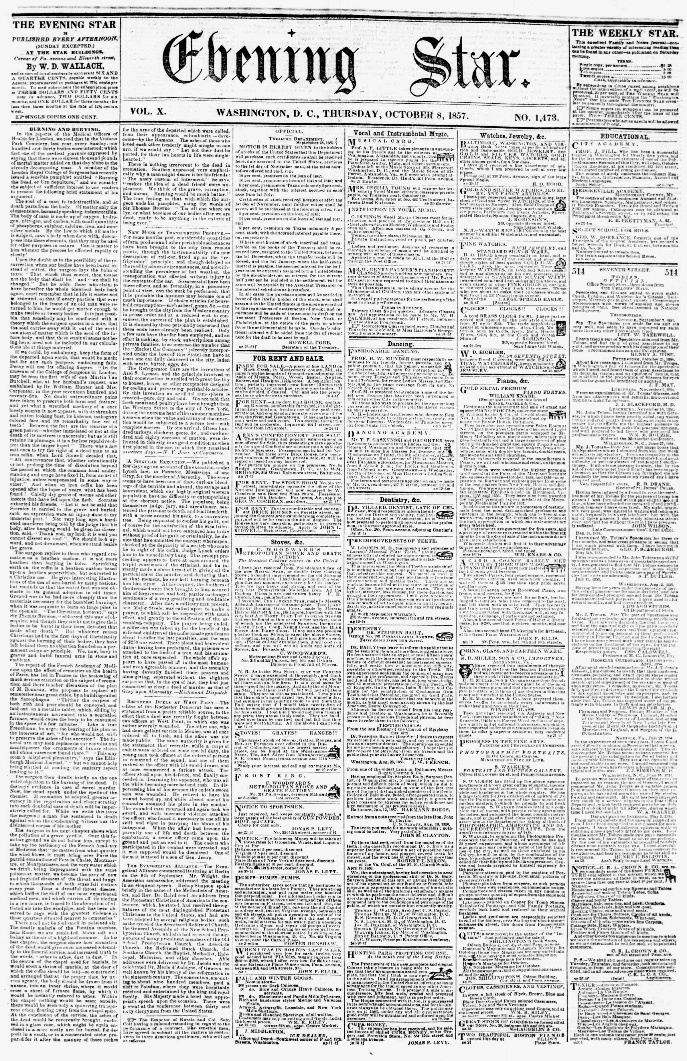 Newspaper of Evening Star dated October 8, 1857 Page 1