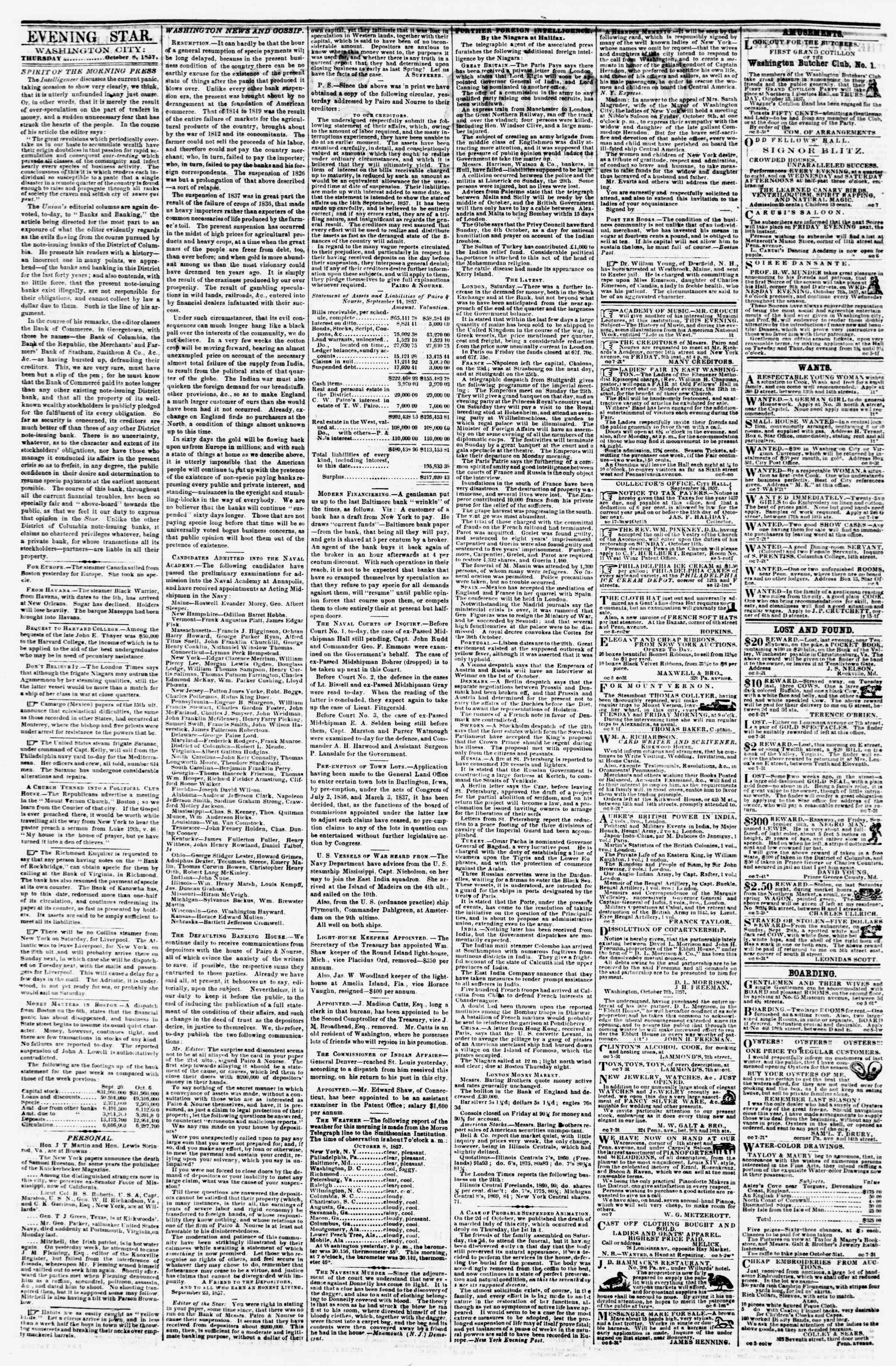 Newspaper of Evening Star dated October 8, 1857 Page 2