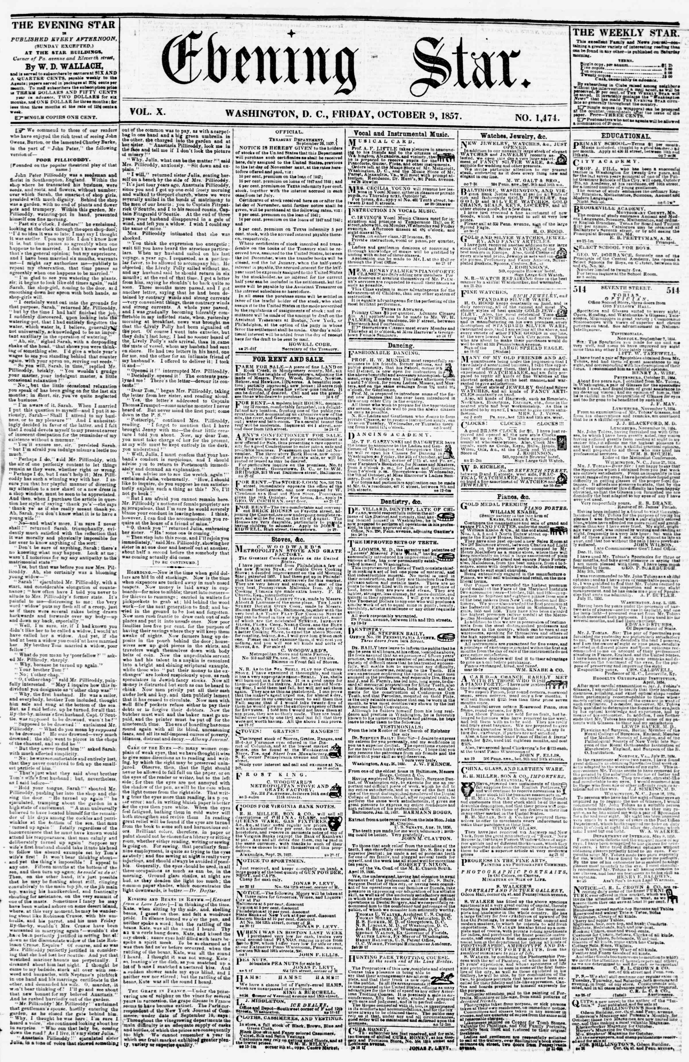 Newspaper of Evening Star dated October 9, 1857 Page 1