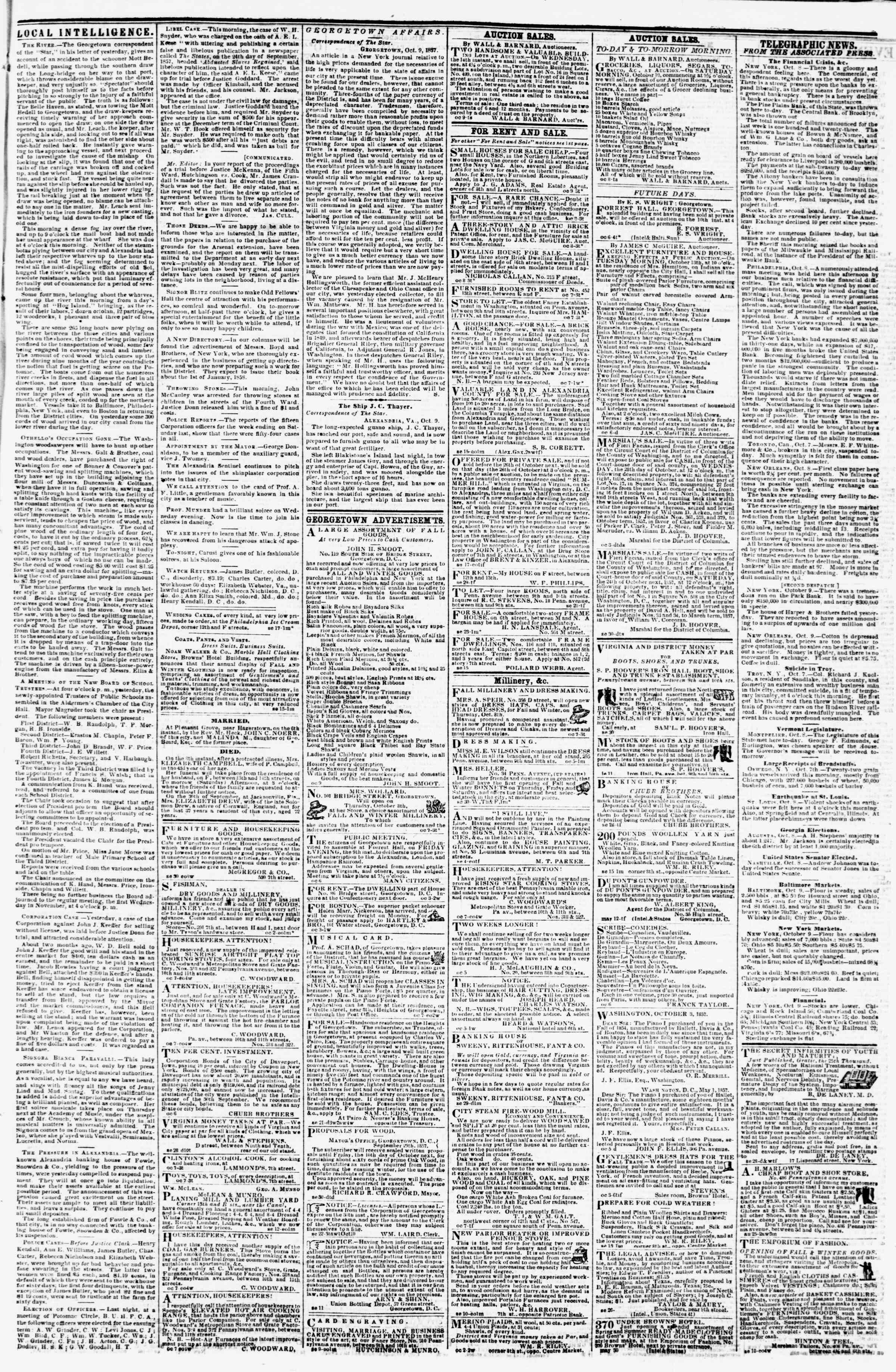 Newspaper of Evening Star dated October 9, 1857 Page 3