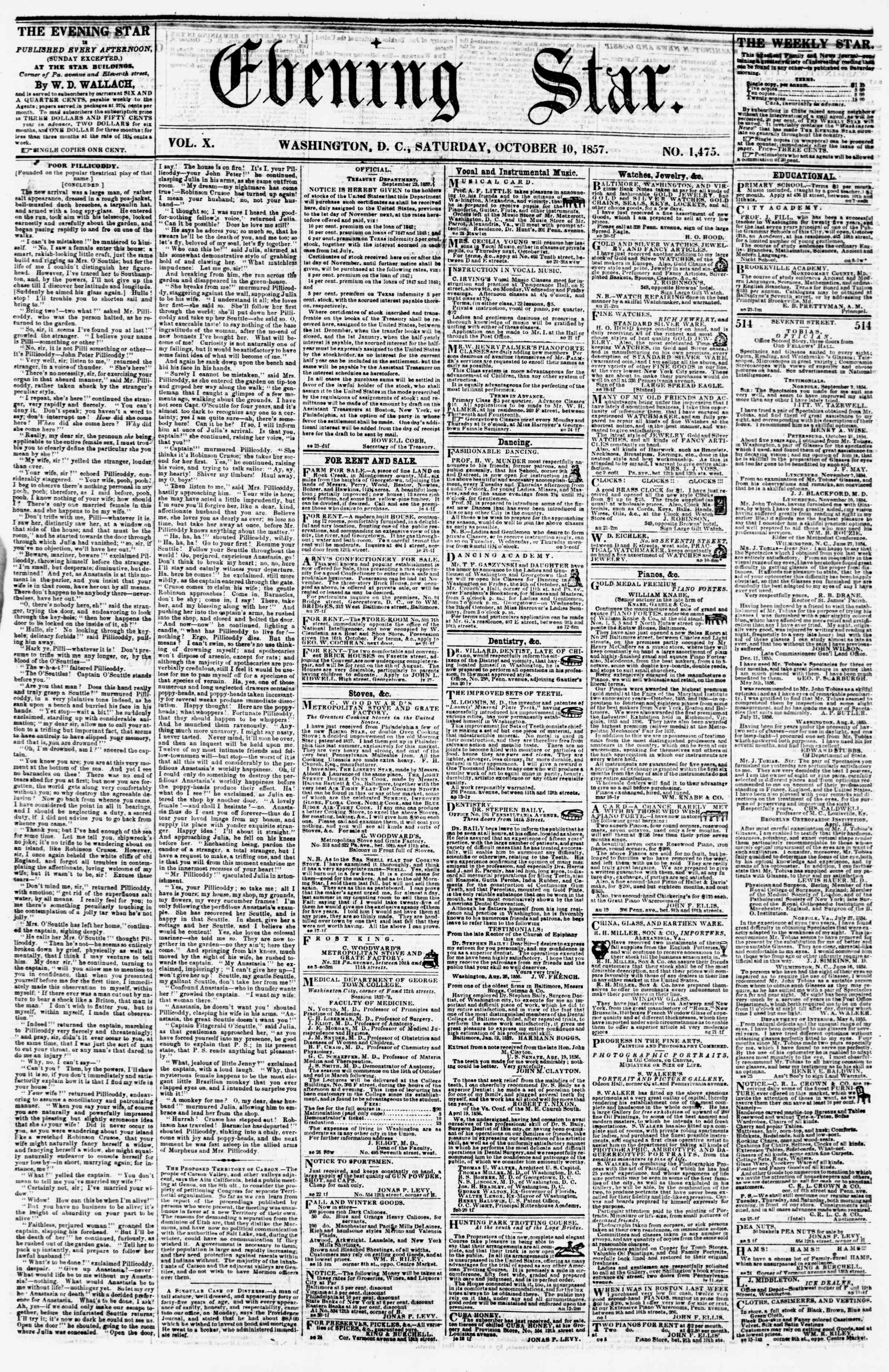 Newspaper of Evening Star dated October 10, 1857 Page 1